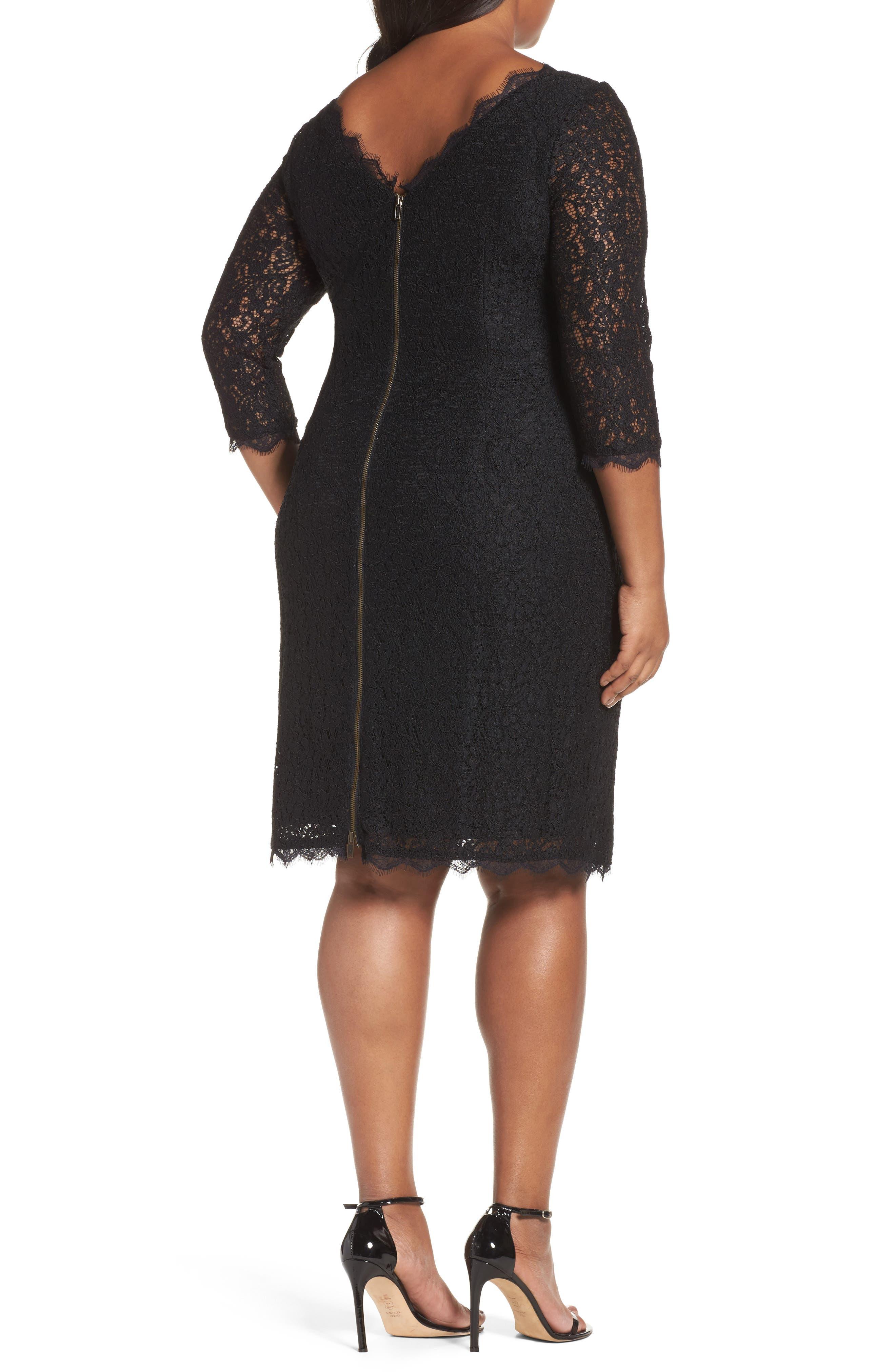 Alternate Image 2  - Adrianna Papell Lace Overlay Sheath Dress (Plus Size)