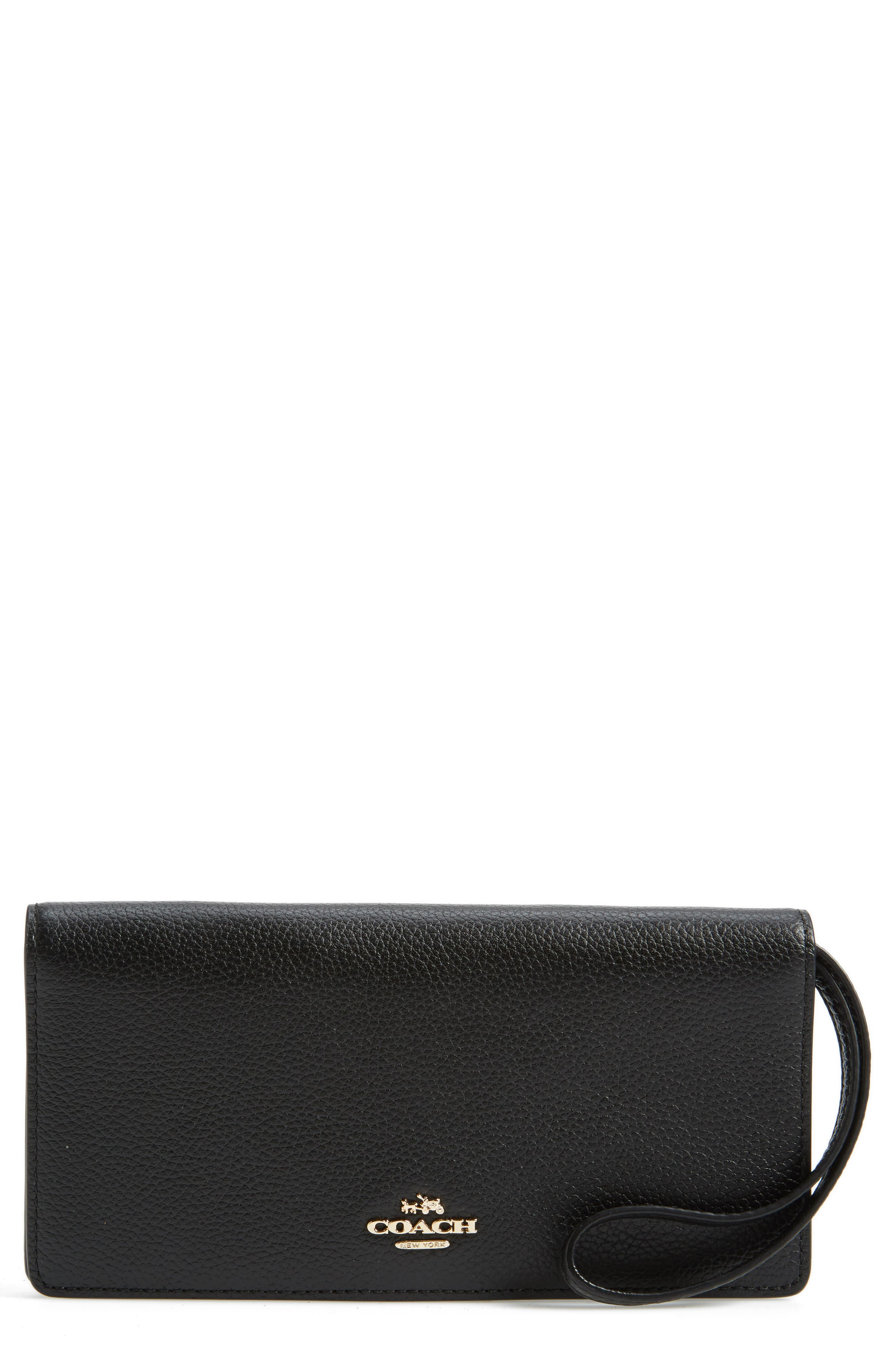 Slim Calfskin Leather Wristlet,                         Main,                         color, Black