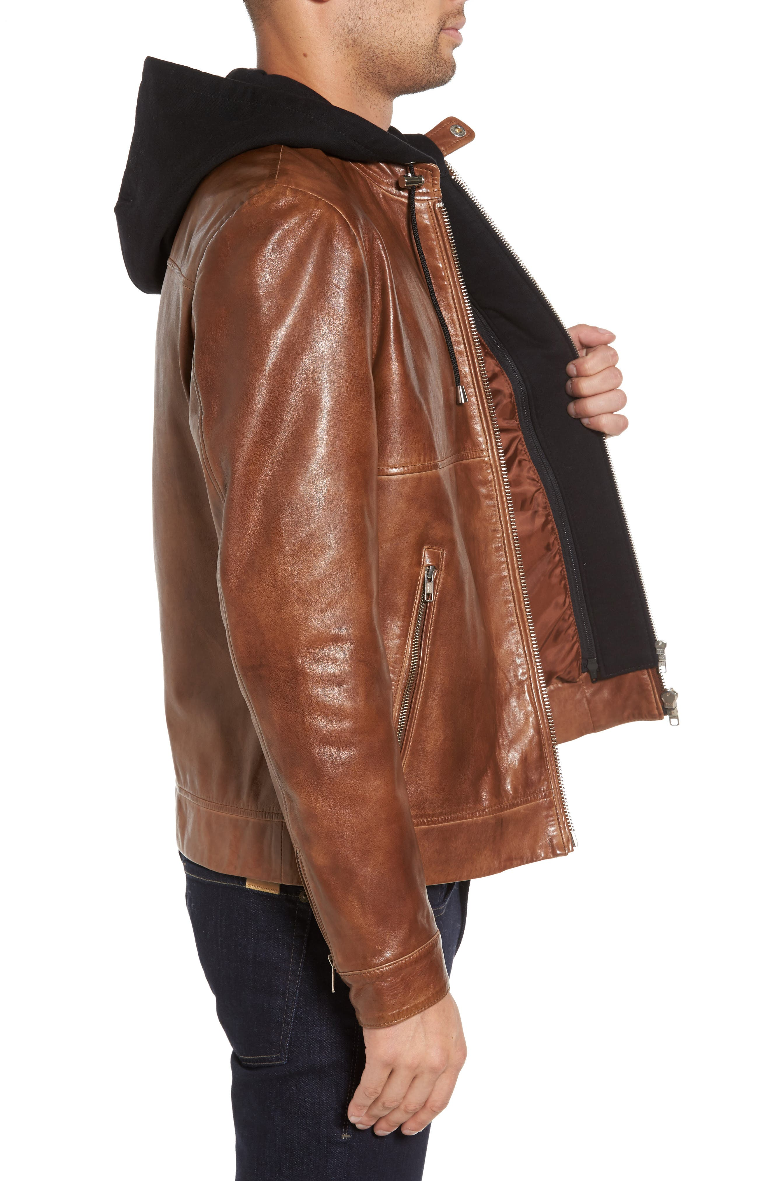 Leather Moto Jacket with Removable Hood,                             Alternate thumbnail 4, color,                             Luggage Brown