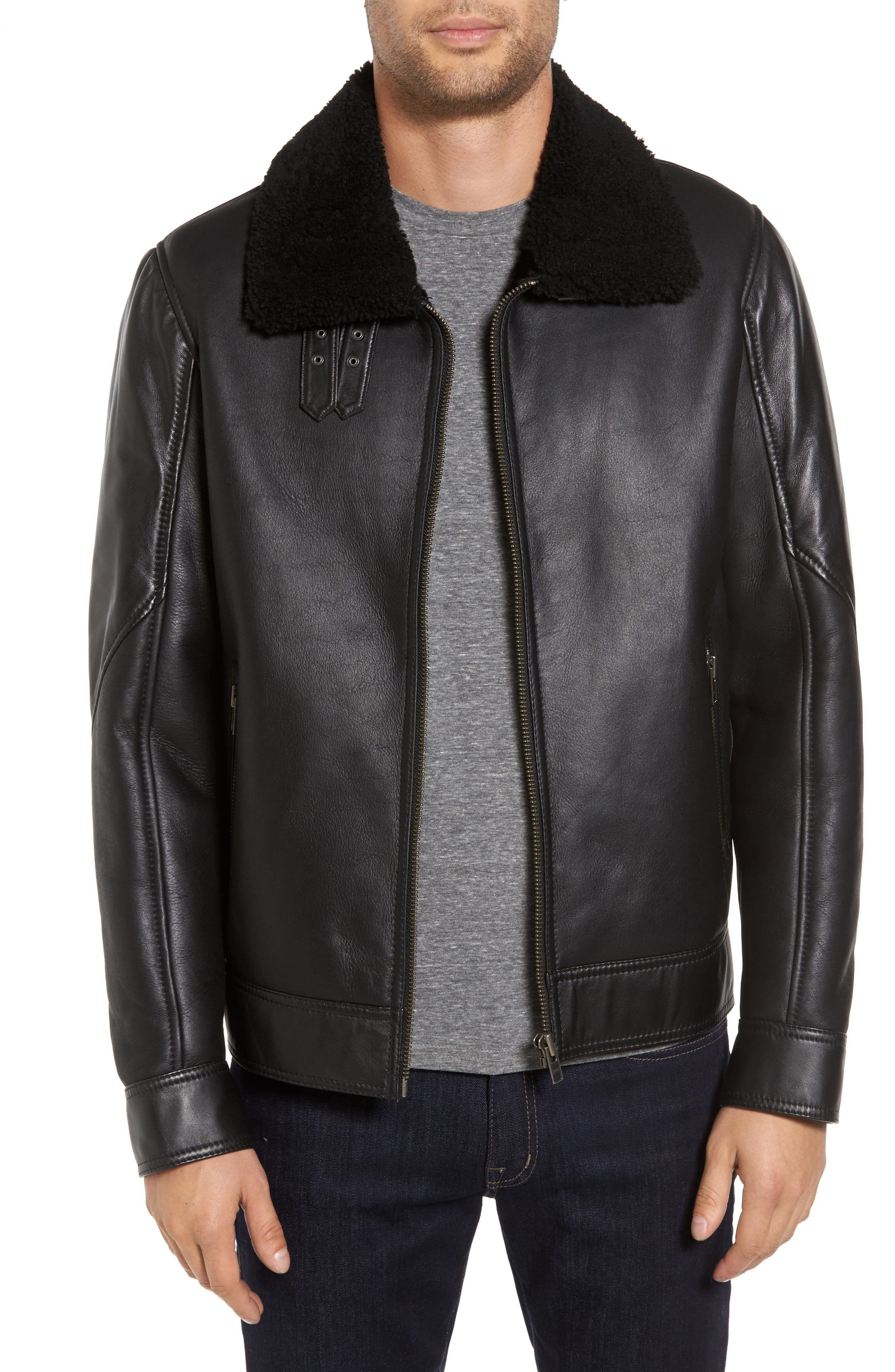 LAMARQUE Classic Fit Genuine Shearling Bomber Jacket