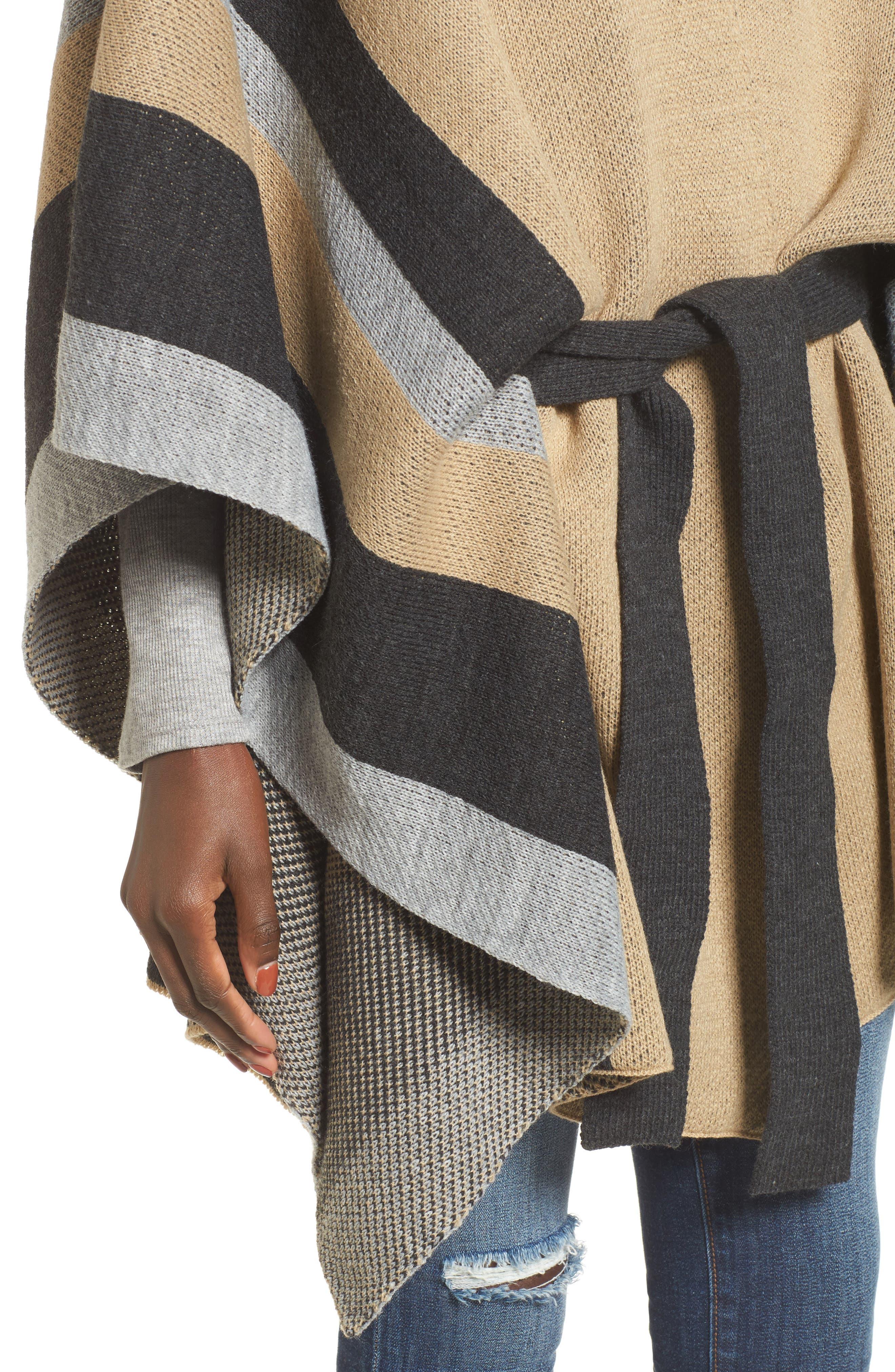 Stripe Ruana,                             Alternate thumbnail 4, color,                             Camel Multi