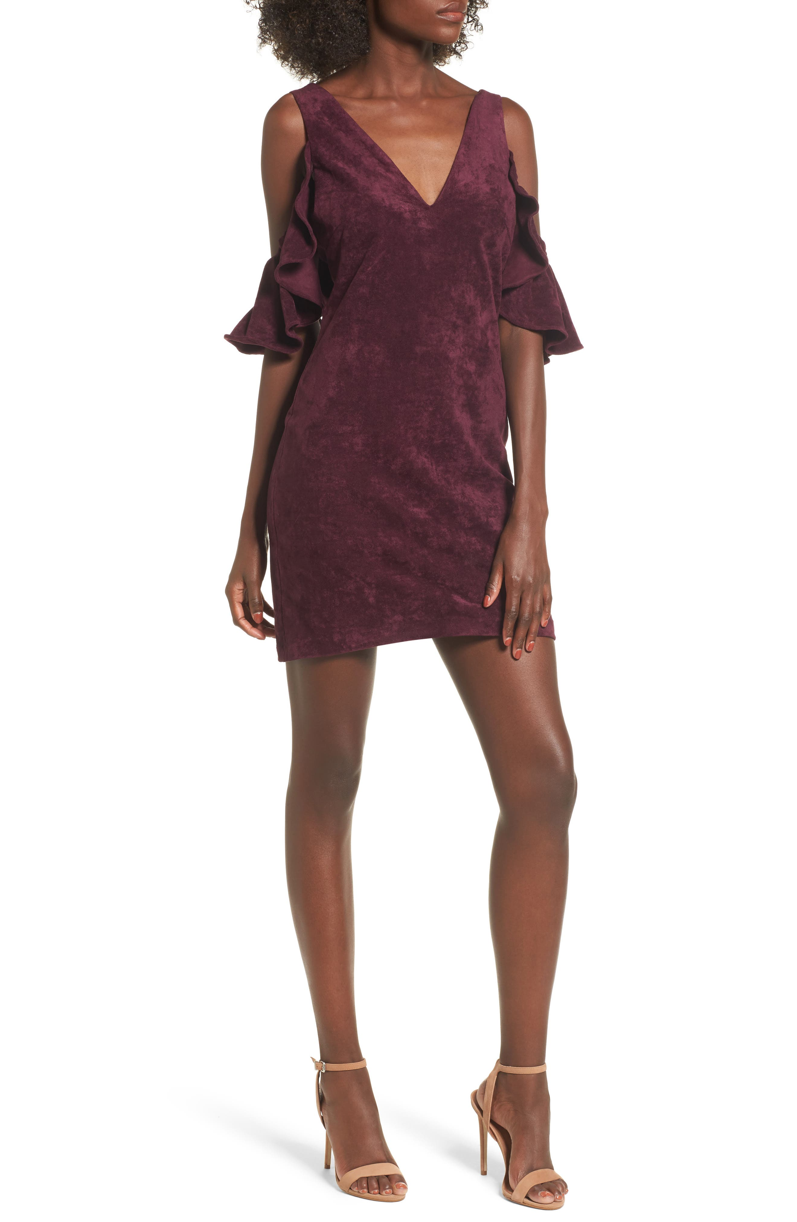 Deane Cold Shoulder Sheath Dress,                         Main,                         color, Grape Wine