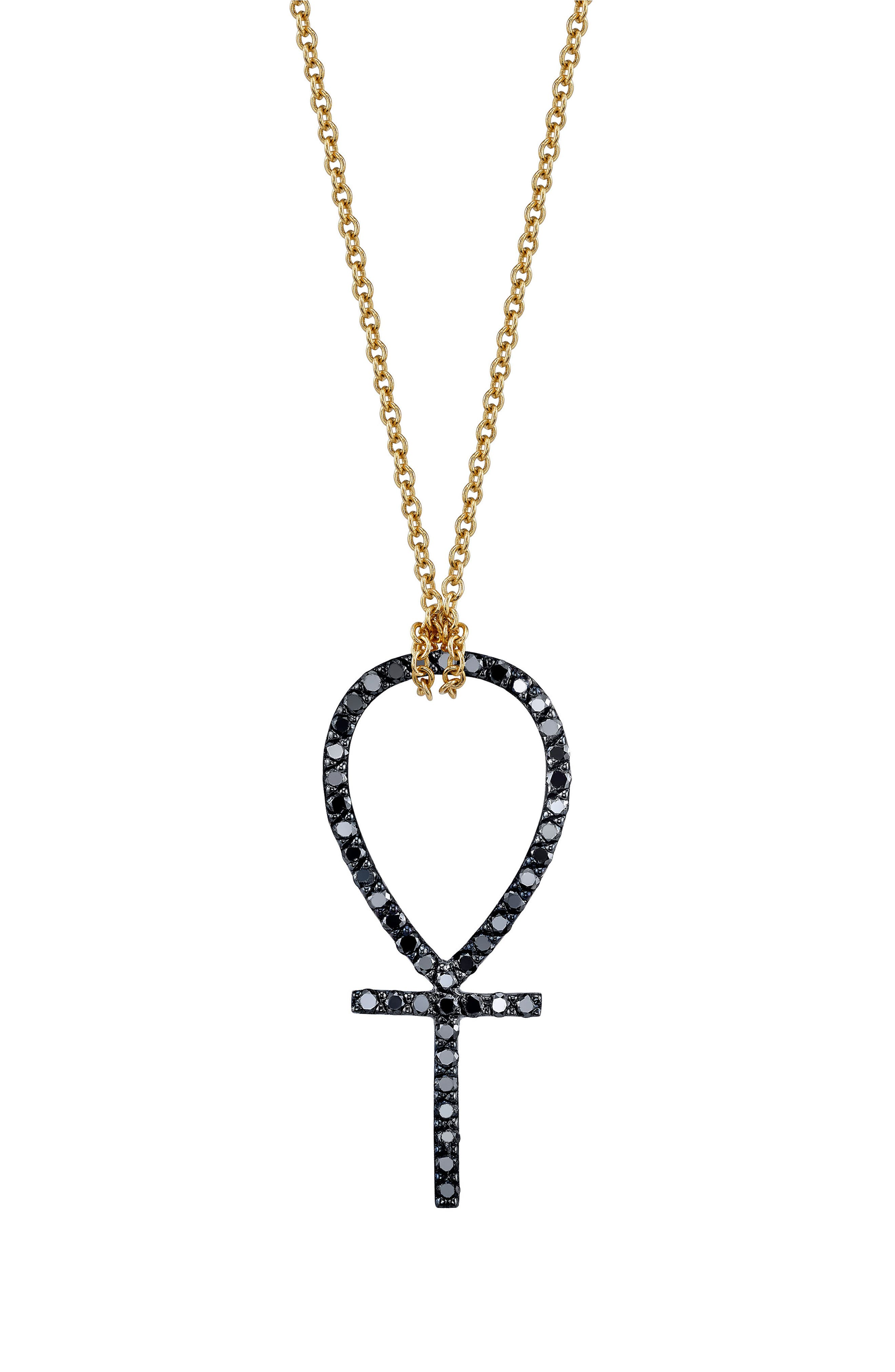 x Rashida Jones Black Diamond Ankh Pendant Necklace,                         Main,                         color, Yellow Gold
