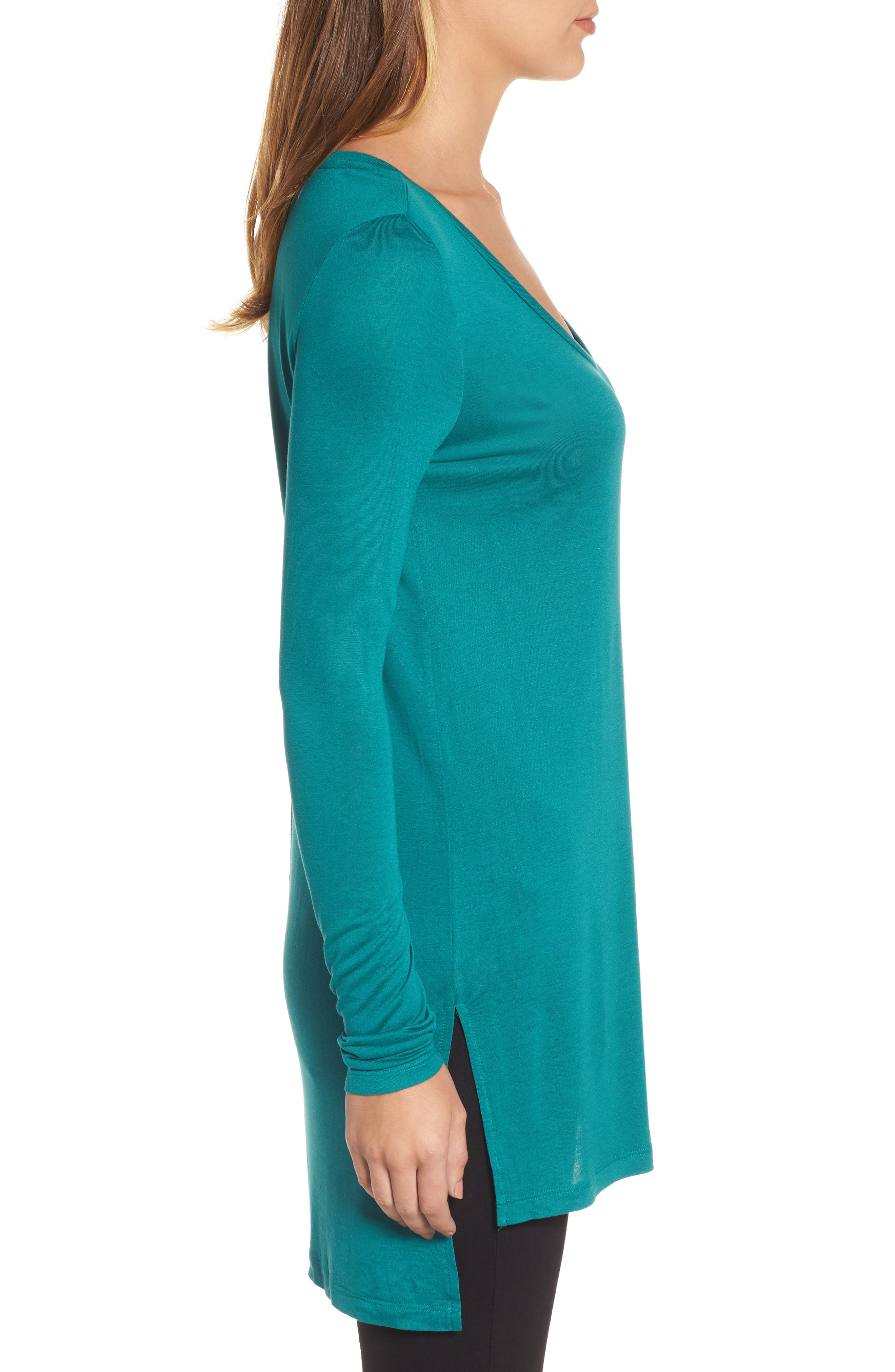 Long Sleeve Lightweight Tunic,                             Alternate thumbnail 3, color,                             Teal Green
