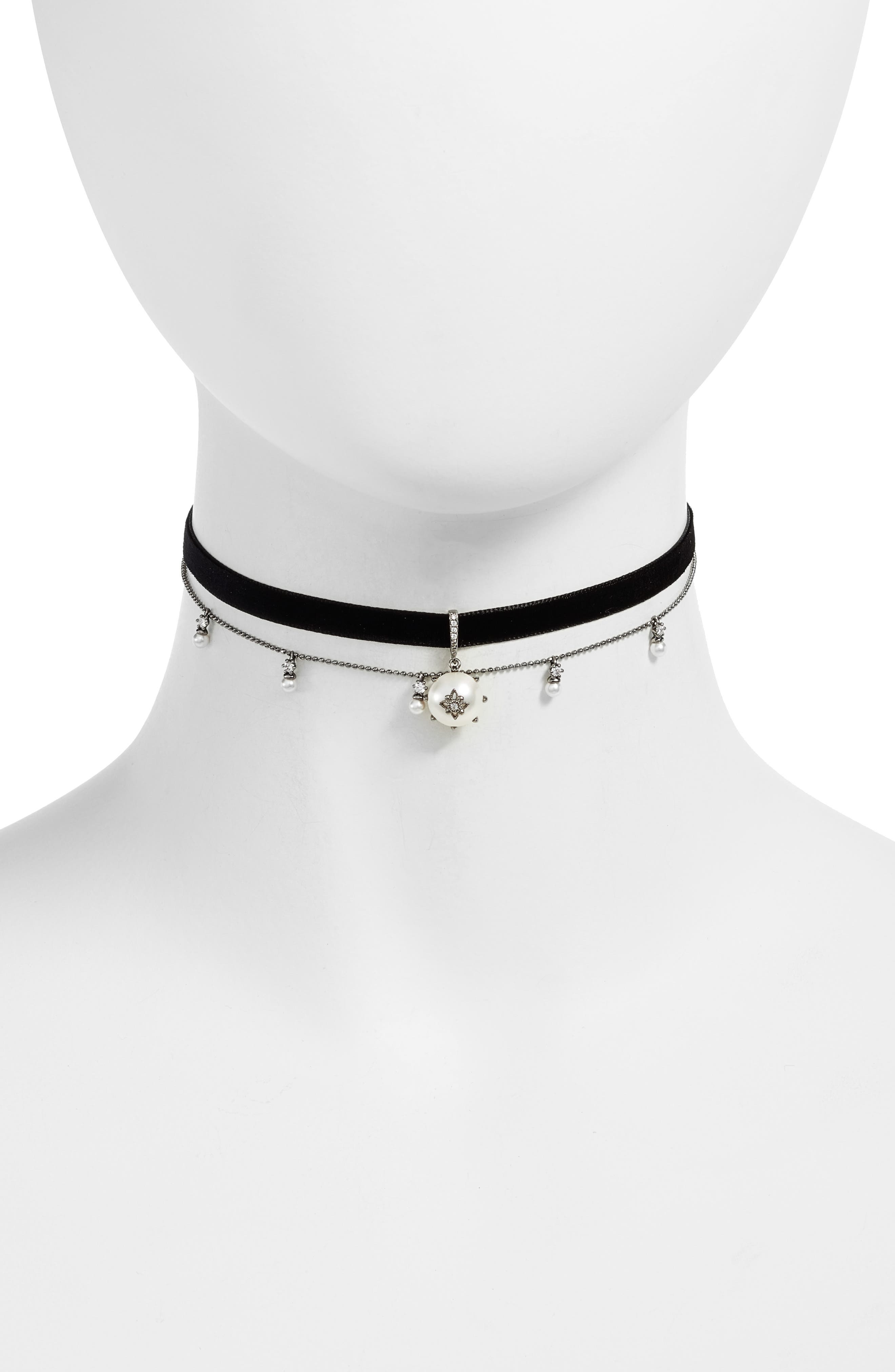 Coquette Faux Pearl Layered Choker Necklace,                         Main,                         color, Black