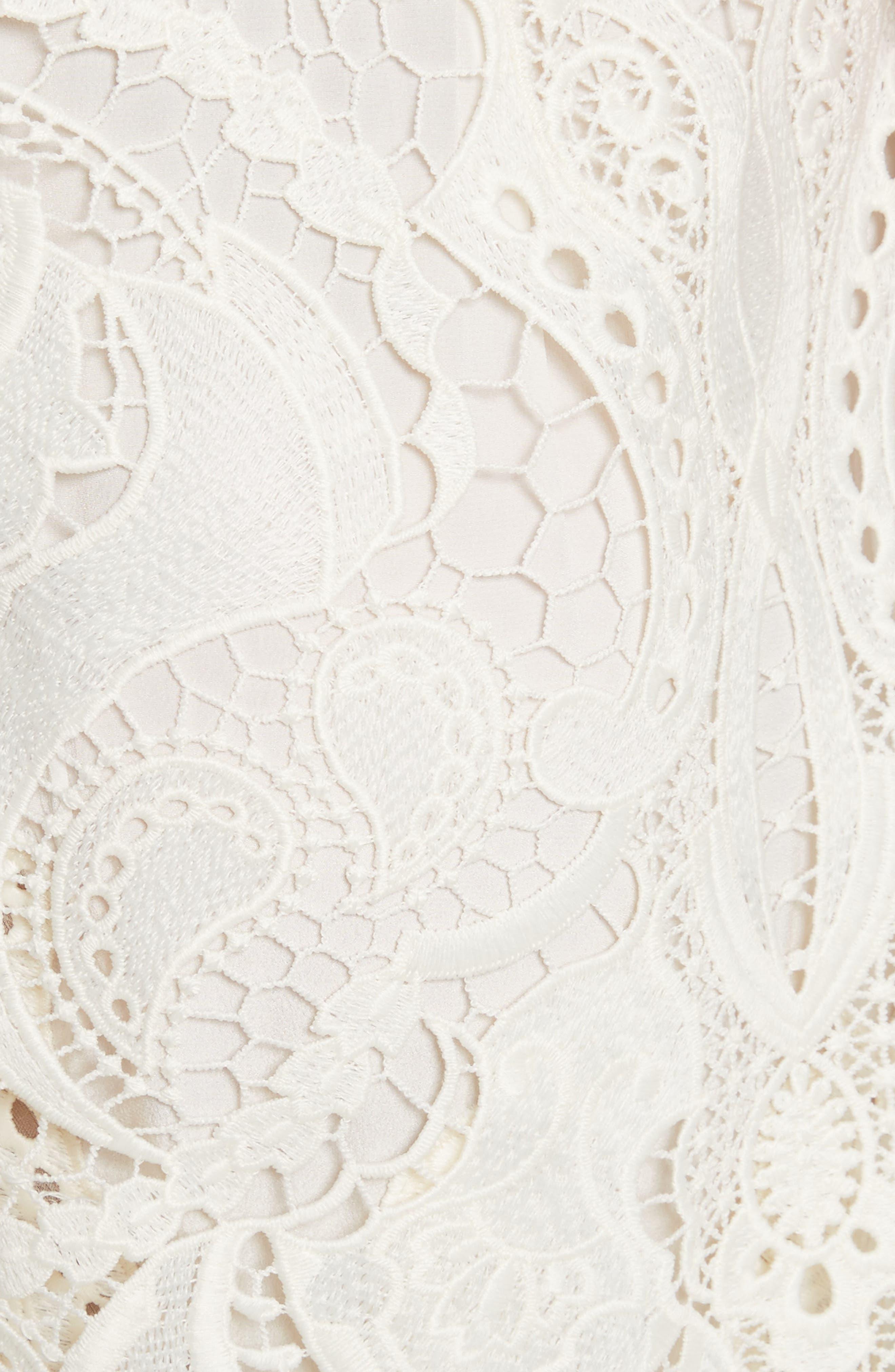 Appliqué Lace Midi Dress,                             Alternate thumbnail 5, color,                             Ivory