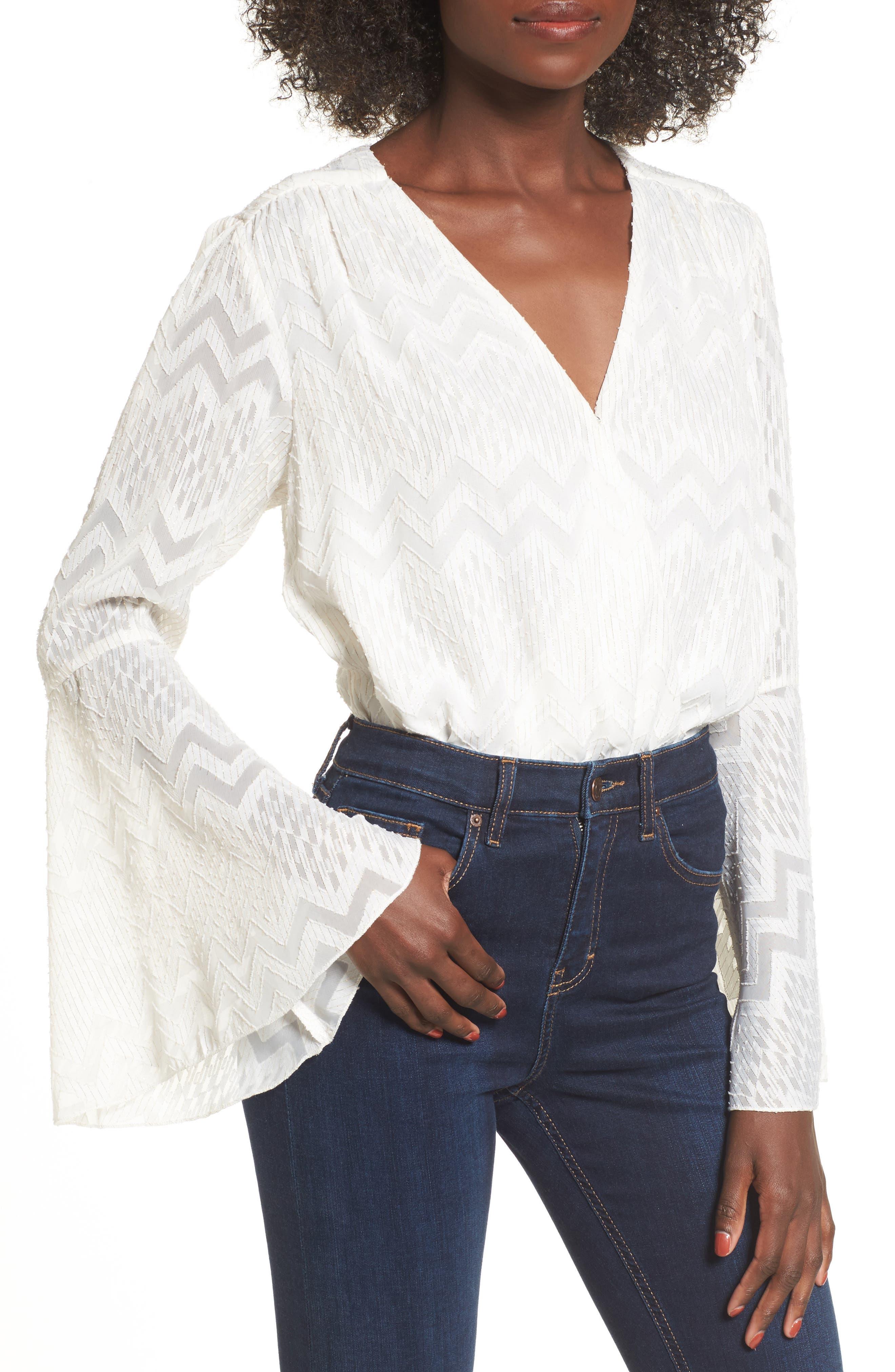 Christi Bell Sleeve Bodysuit,                         Main,                         color, Ivory Clip