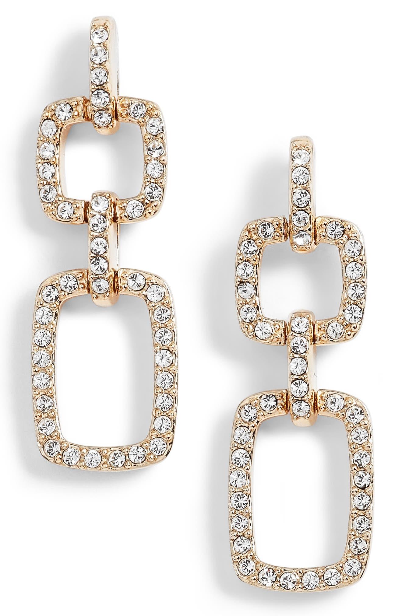 Pavé Crystal Drop Earrings,                             Main thumbnail 1, color,                             Gold