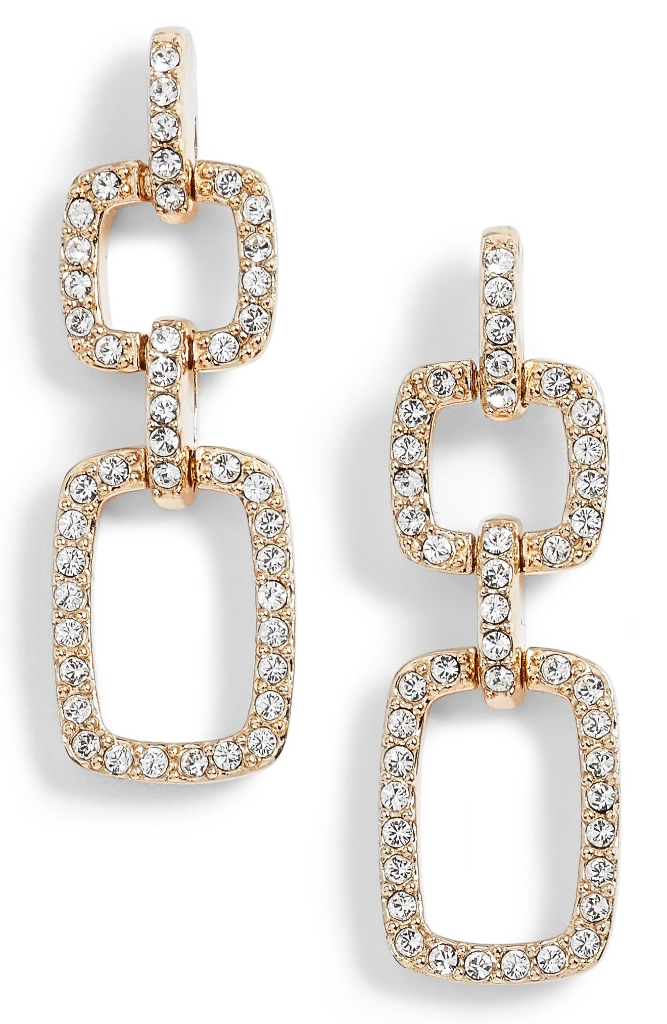 Pavé Crystal Drop Earrings,                         Main,                         color, Gold