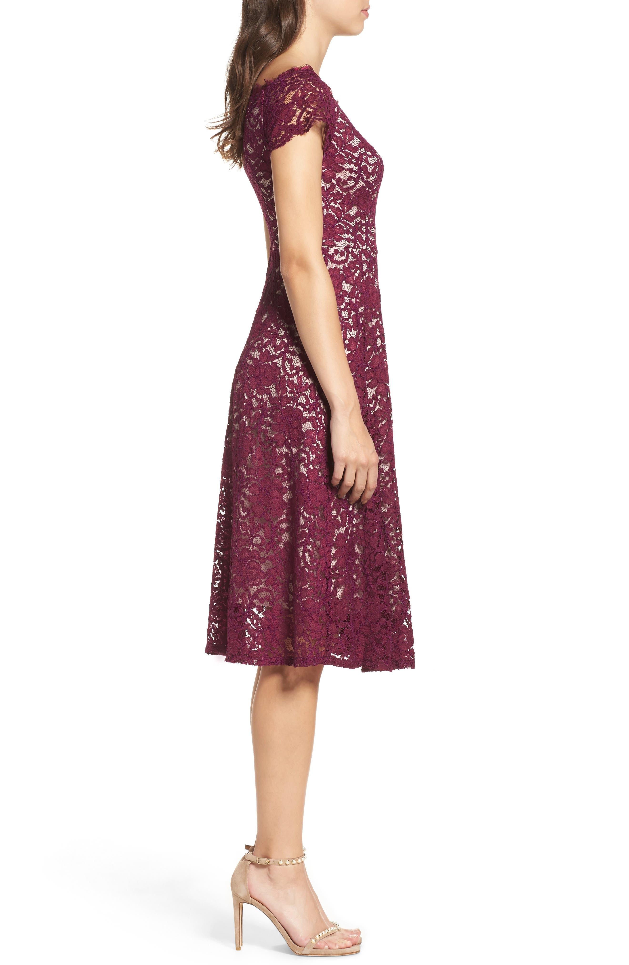 Lace Fit & Flare Dress,                             Alternate thumbnail 3, color,                             Dark Magenta