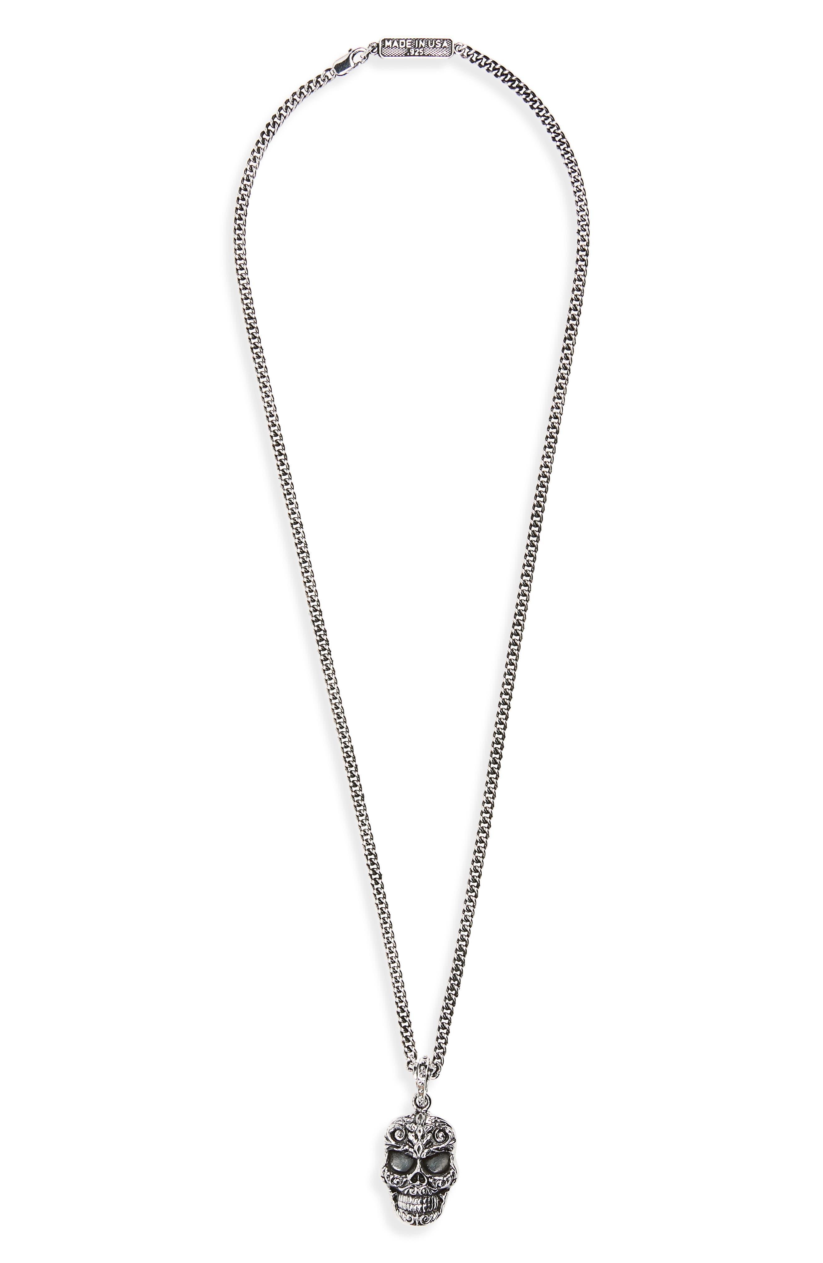 Skull Pendant Necklace,                         Main,                         color, Silver