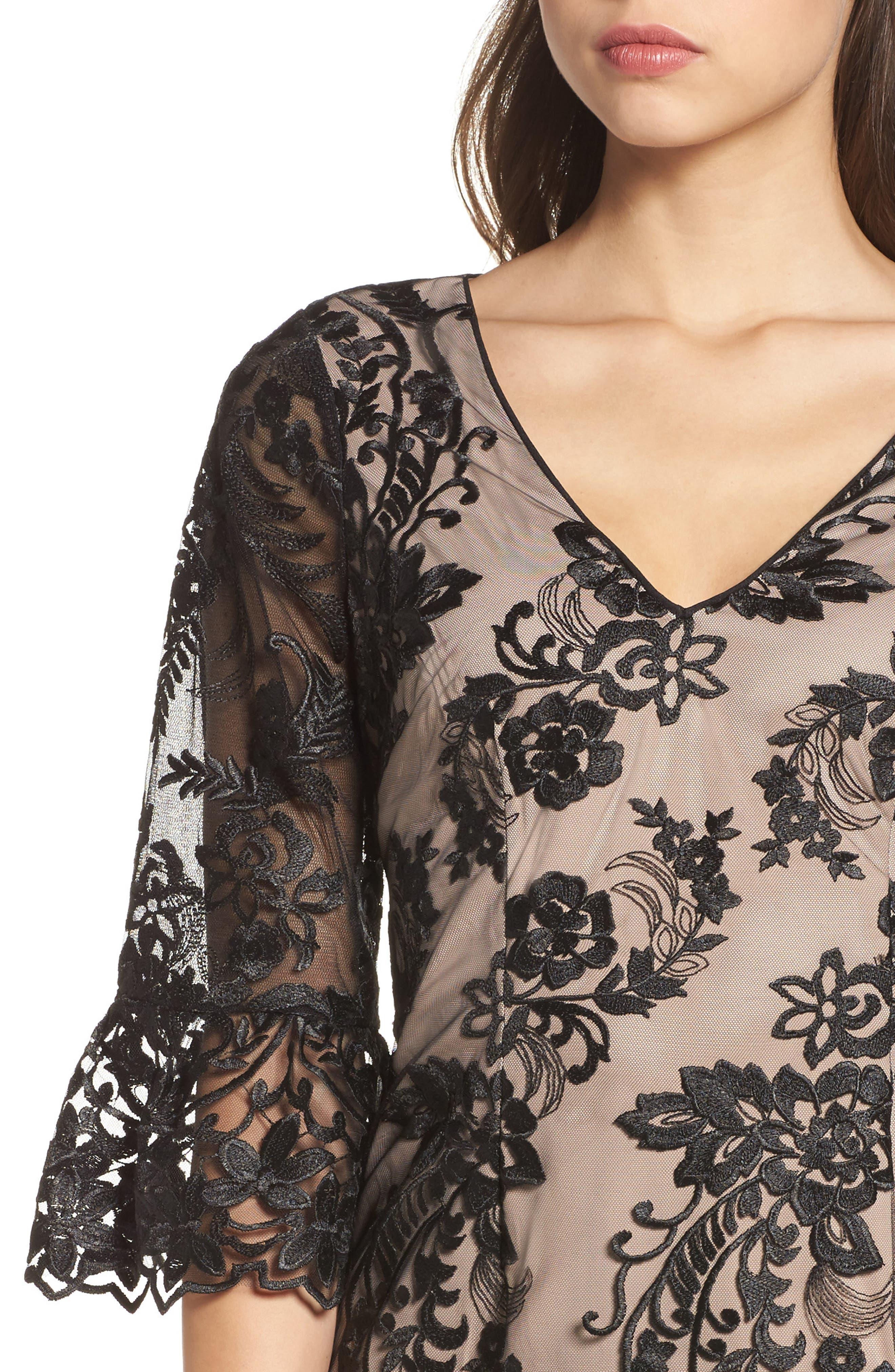 Eillen Embroidered Lace Dress,                             Alternate thumbnail 4, color,                             Black/ Bisque