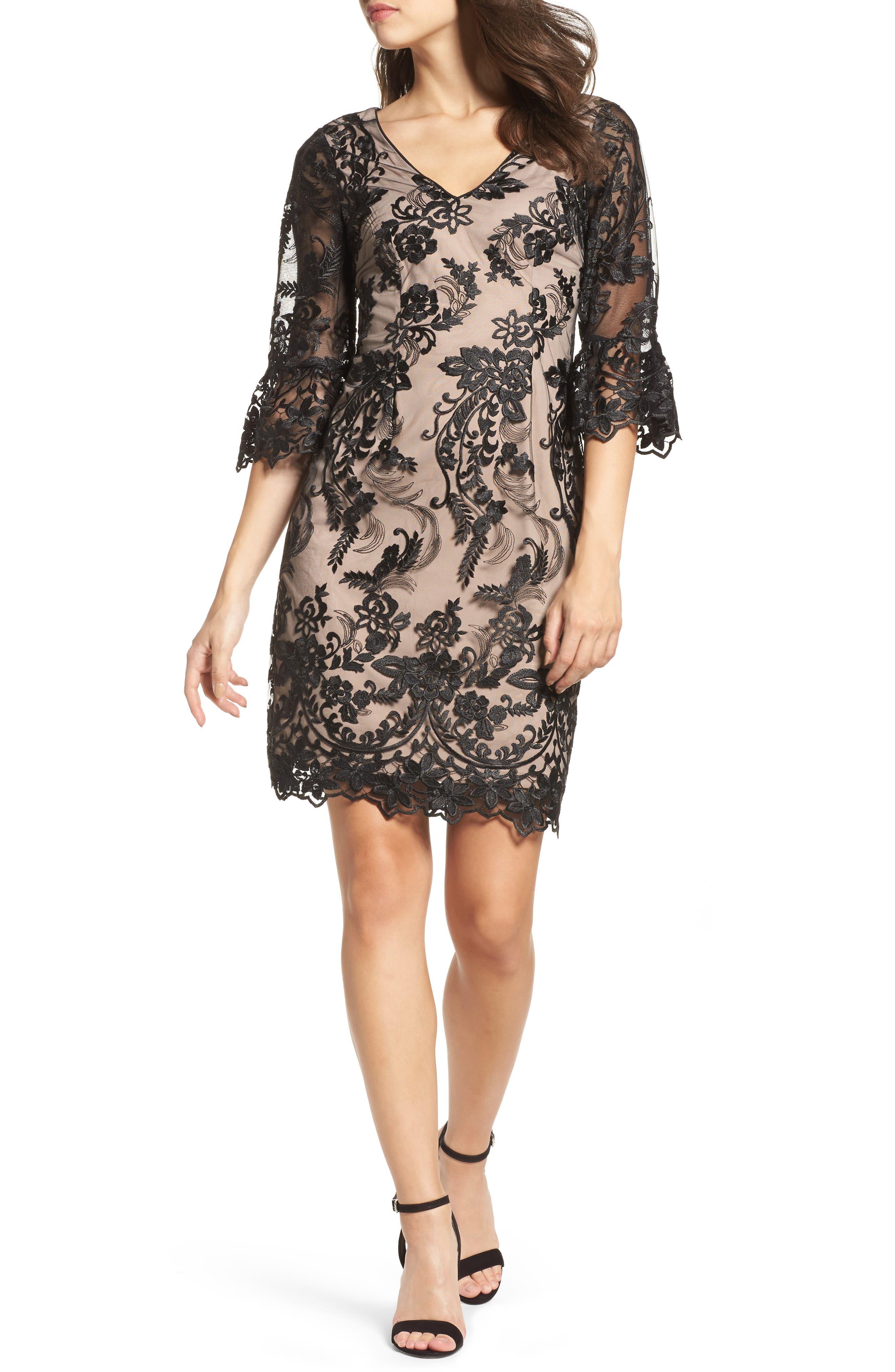 Eillen Embroidered Lace Dress,                             Main thumbnail 1, color,                             Black/ Bisque