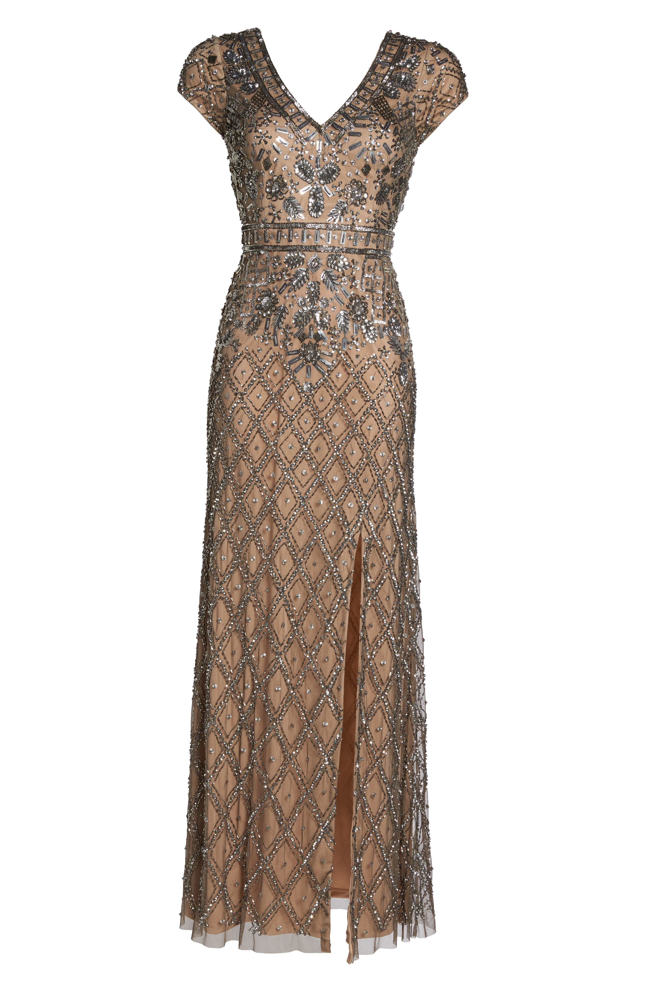 Beaded V-Neck Mesh Gown,                             Alternate thumbnail 6, color,                             Lead/ Nude