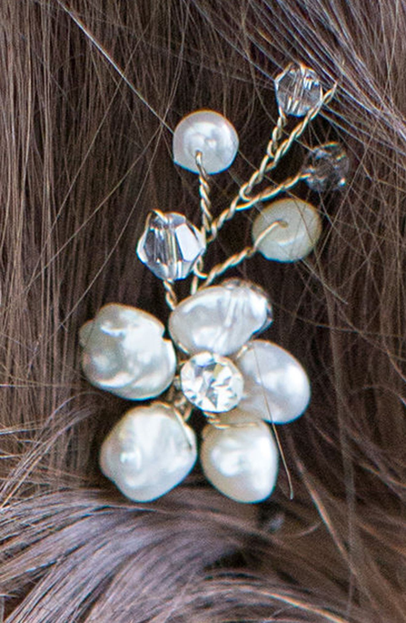 Nahla Pearl & Crystal Flower Pin,                             Alternate thumbnail 3, color,                             Classic Silver