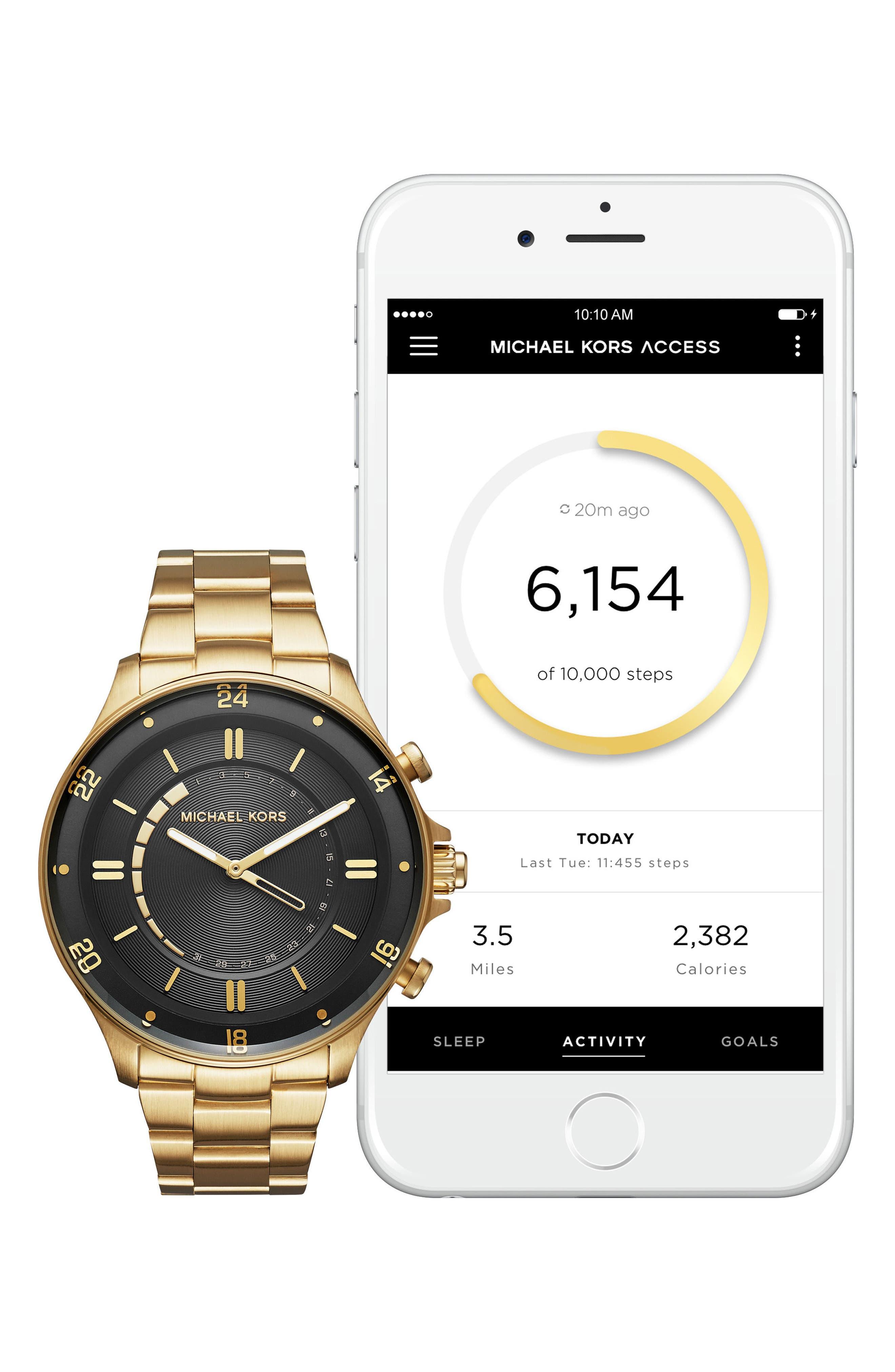 Reid Hybrid Bracelet Watch, 45mm,                             Alternate thumbnail 4, color,                             Gold/ Black/ Gold