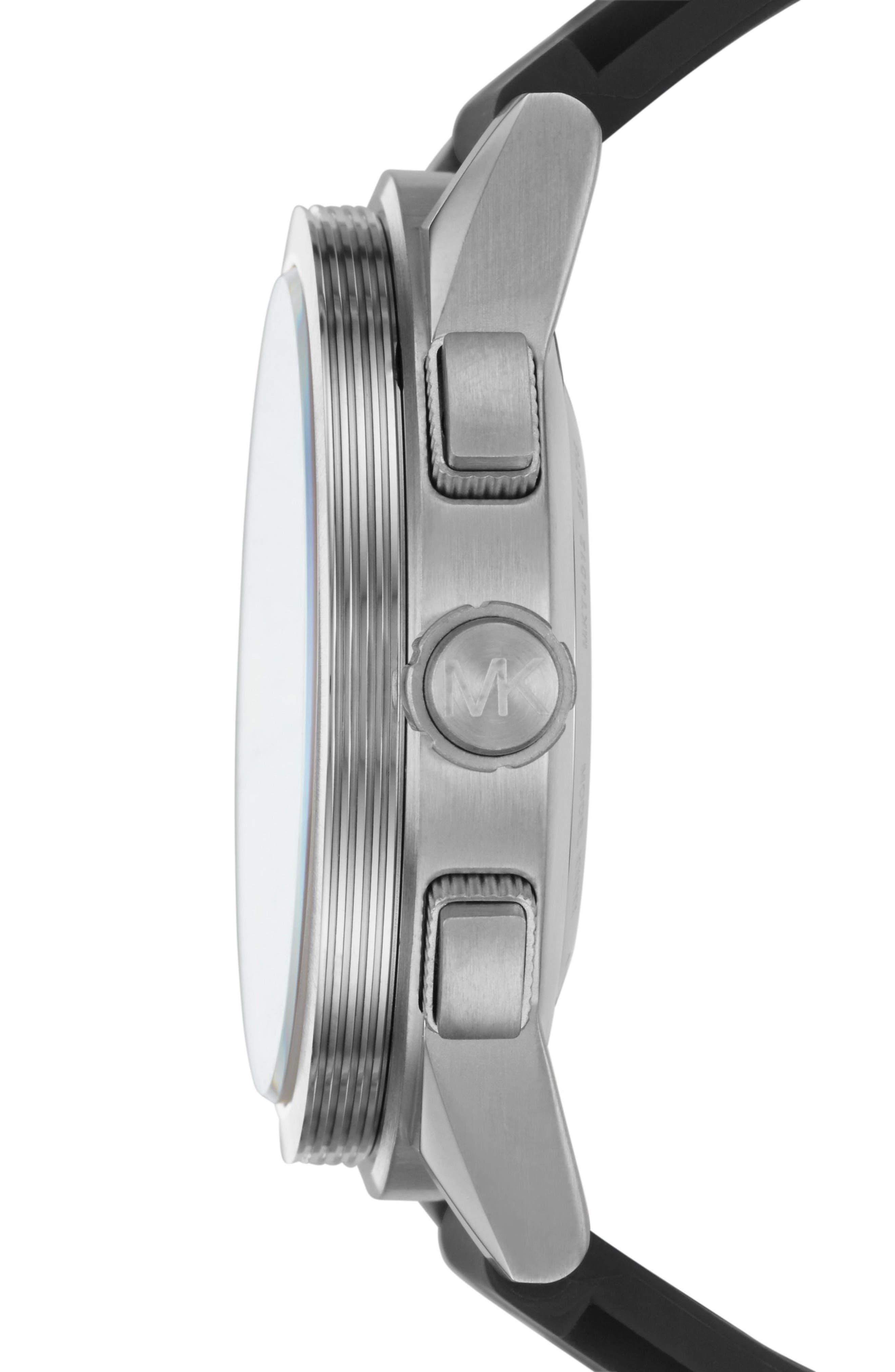 Grayson Hybrid Silicone Strap Smart Watch, 47mm,                             Alternate thumbnail 3, color,                             Black/ Silver