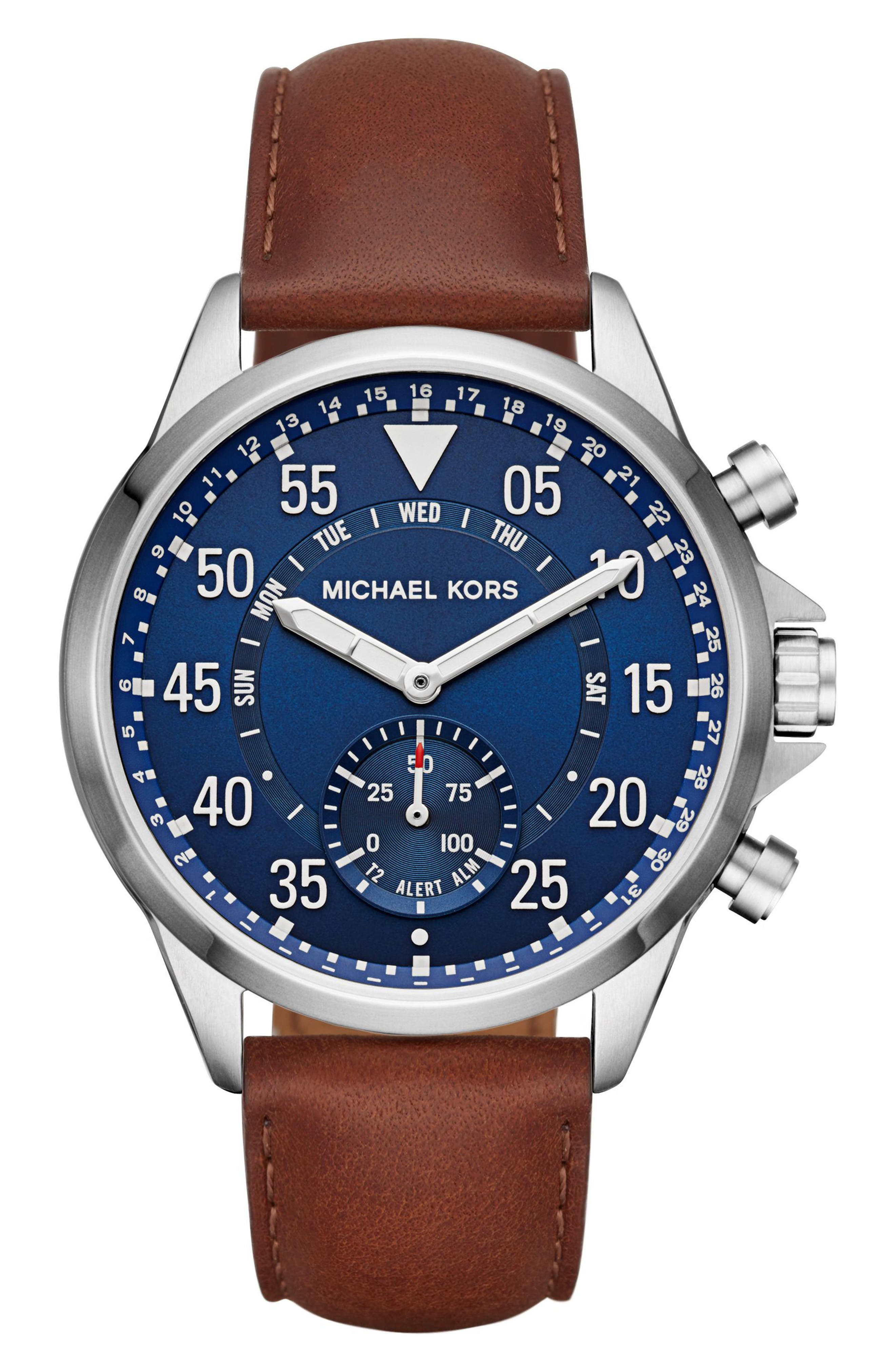 Michael Kors Gage Leather Strap Smart Watch, 45mm,                         Main,                         color, Brown/ Blue/ Silver