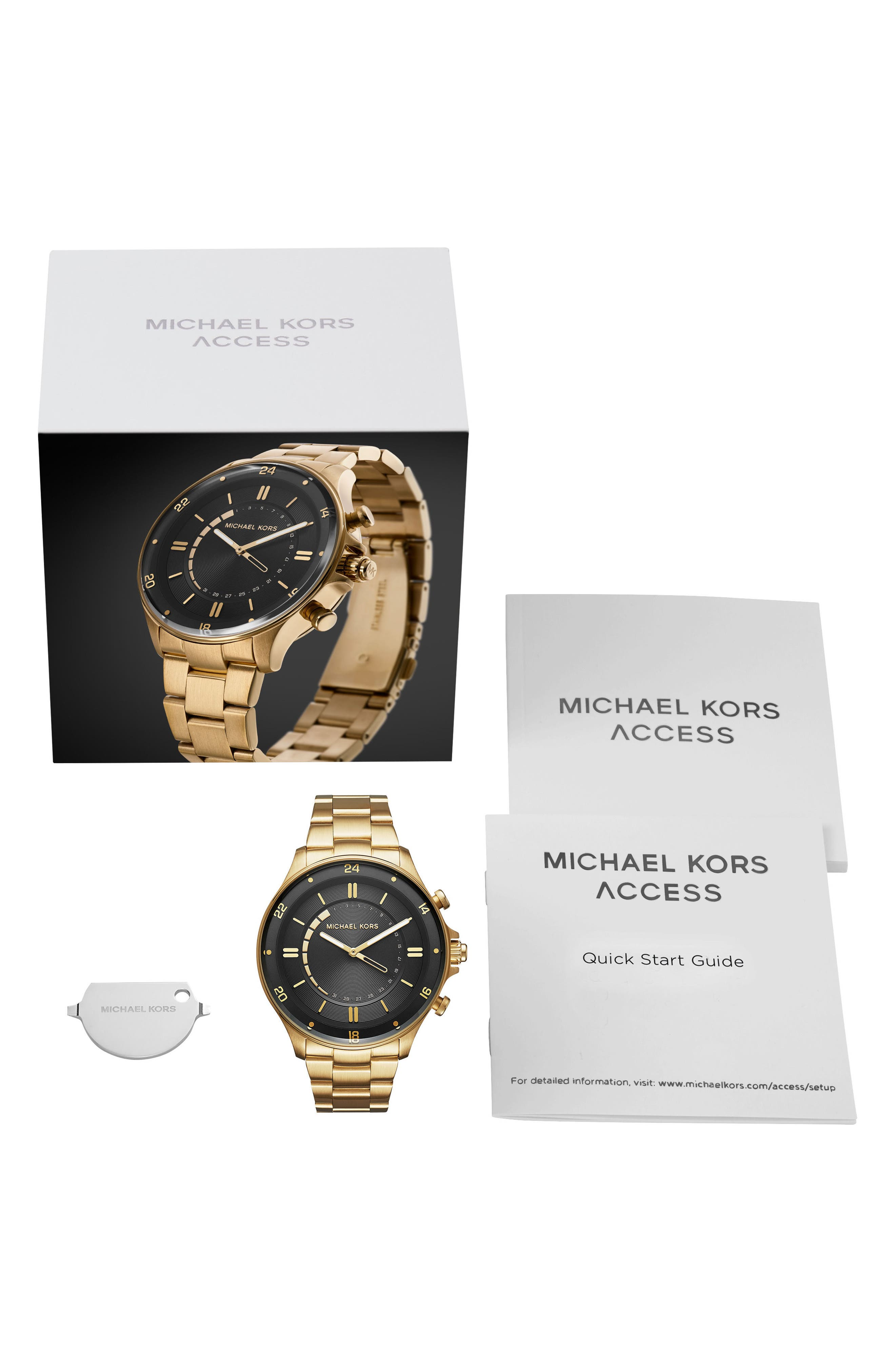Reid Hybrid Bracelet Watch, 45mm,                             Alternate thumbnail 5, color,                             Gold/ Black/ Gold