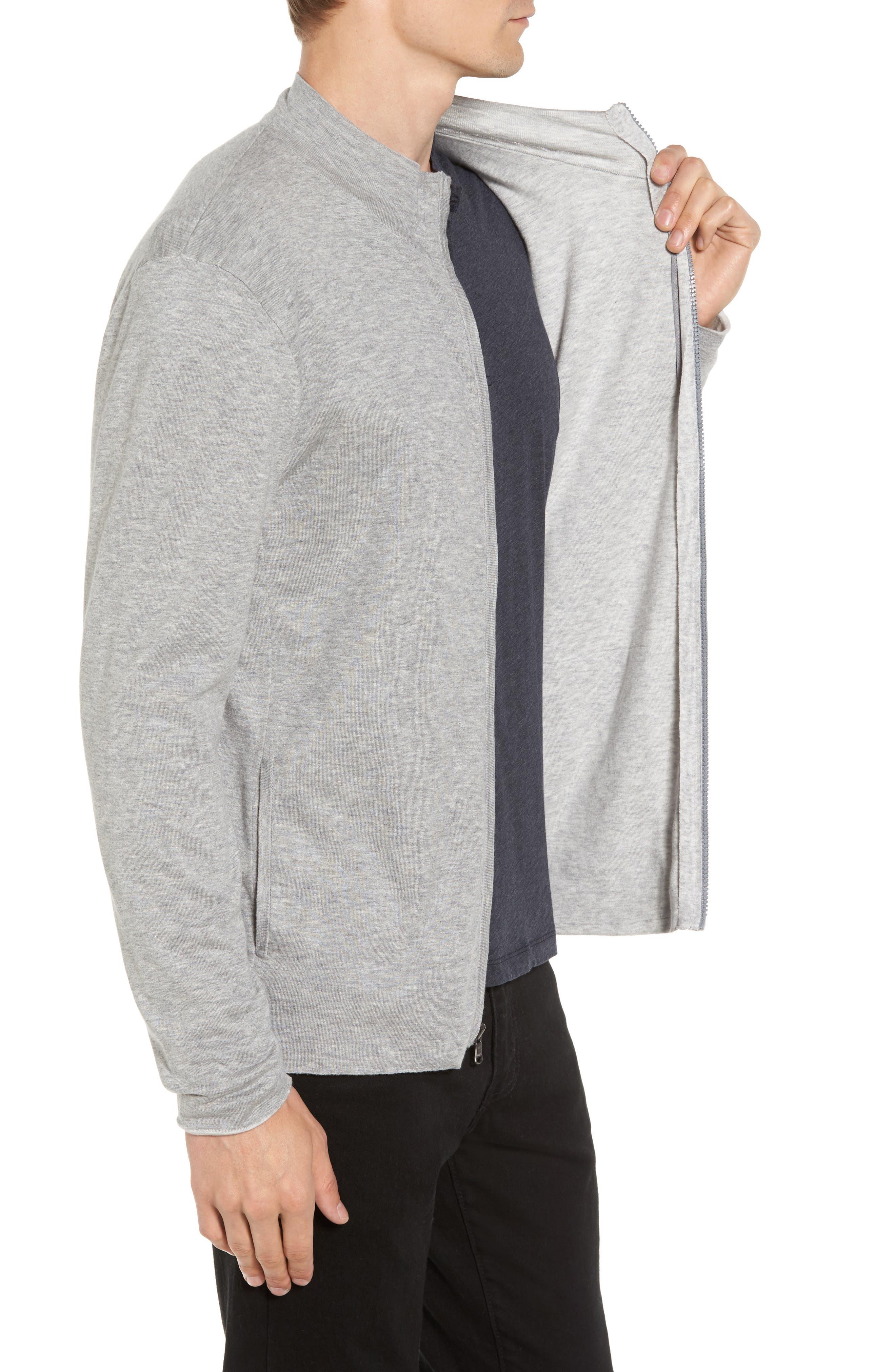 Mock Neck Zip Sweatshirt,                             Alternate thumbnail 3, color,                             Heather Grey/ Platinum