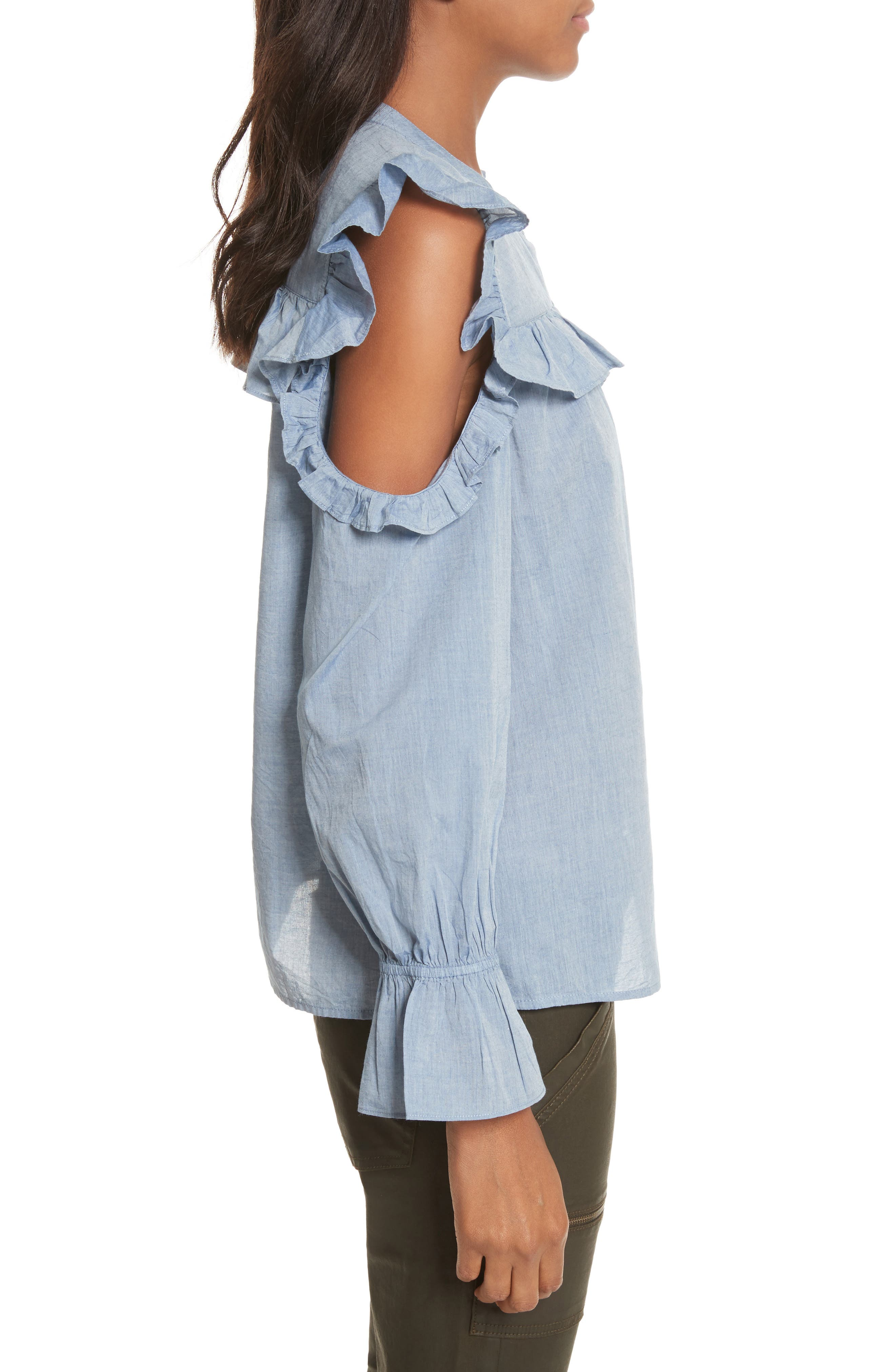 Akari Cold Shoulder Top,                             Alternate thumbnail 3, color,                             Chambray