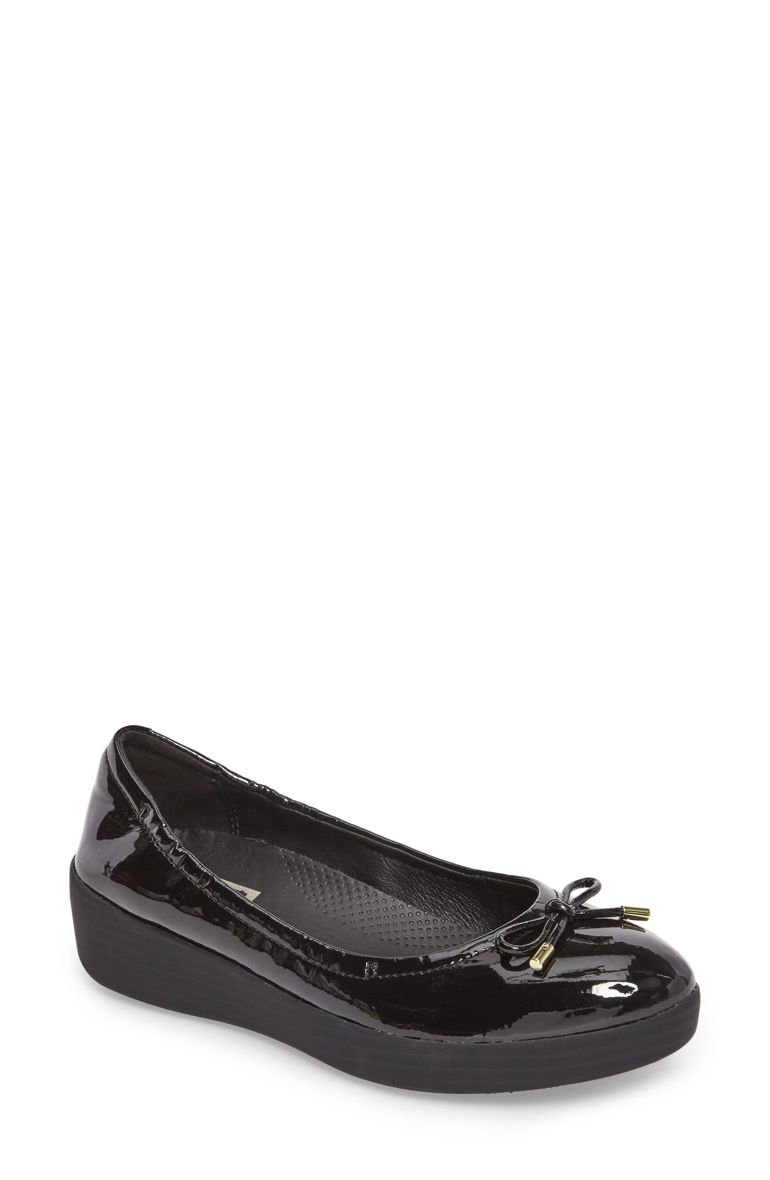 SuperBendy<sup>™</sup> Ballet Flat,                         Main,                         color, Black Faux Patent