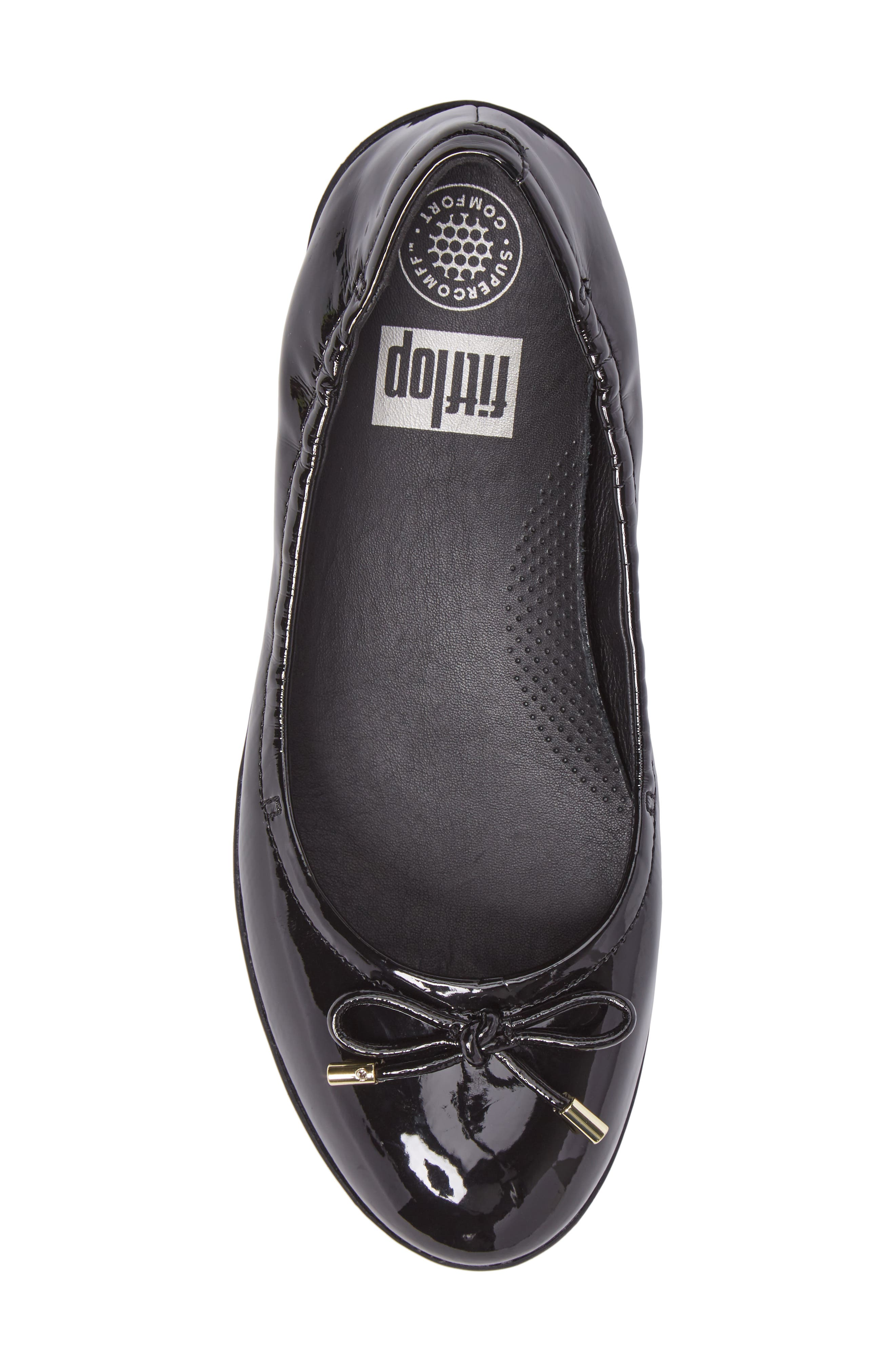SuperBendy<sup>™</sup> Ballet Flat,                             Alternate thumbnail 5, color,                             Black Faux Patent