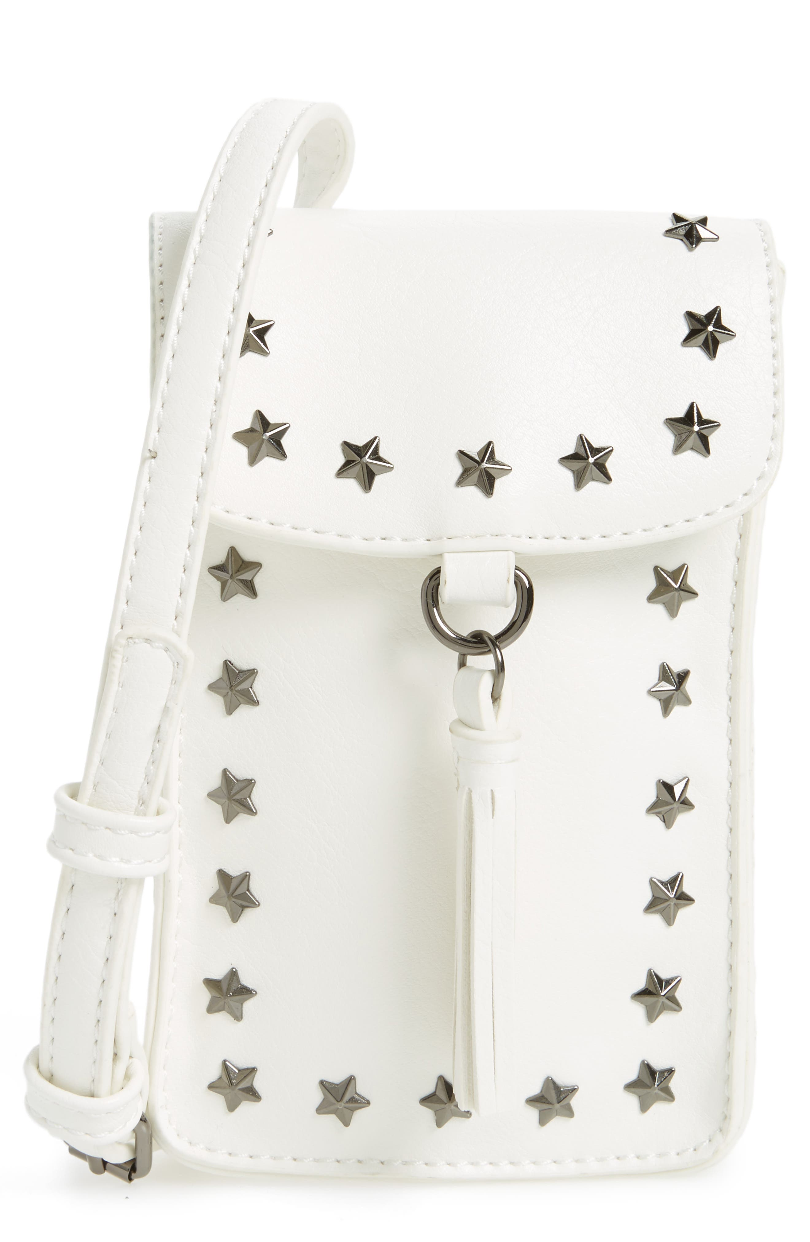 BP. Studded Faux Leather Phone Crossbody Bag
