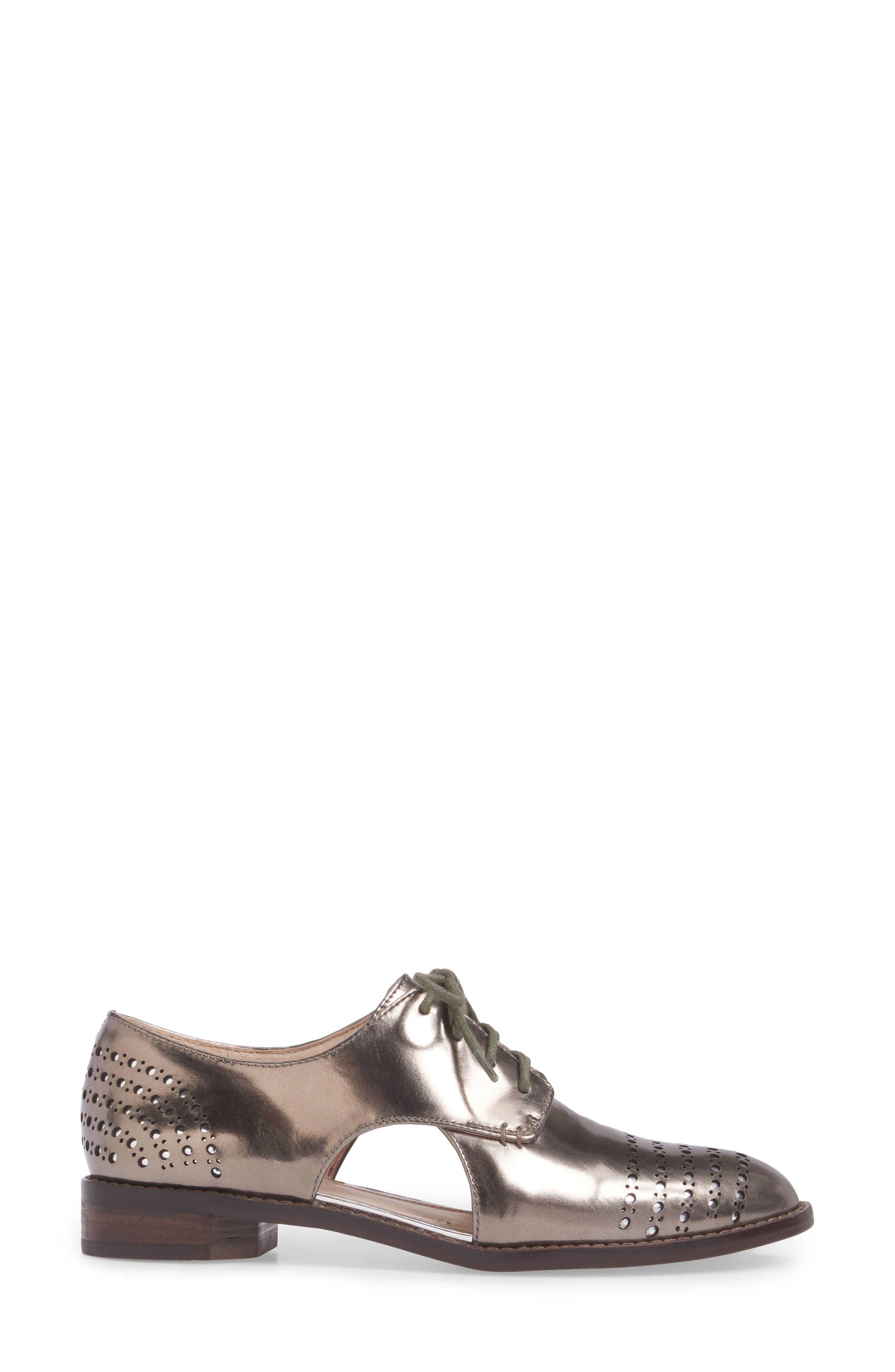 Felta Cutout Oxford,                             Alternate thumbnail 3, color,                             Iron Specchio Leather