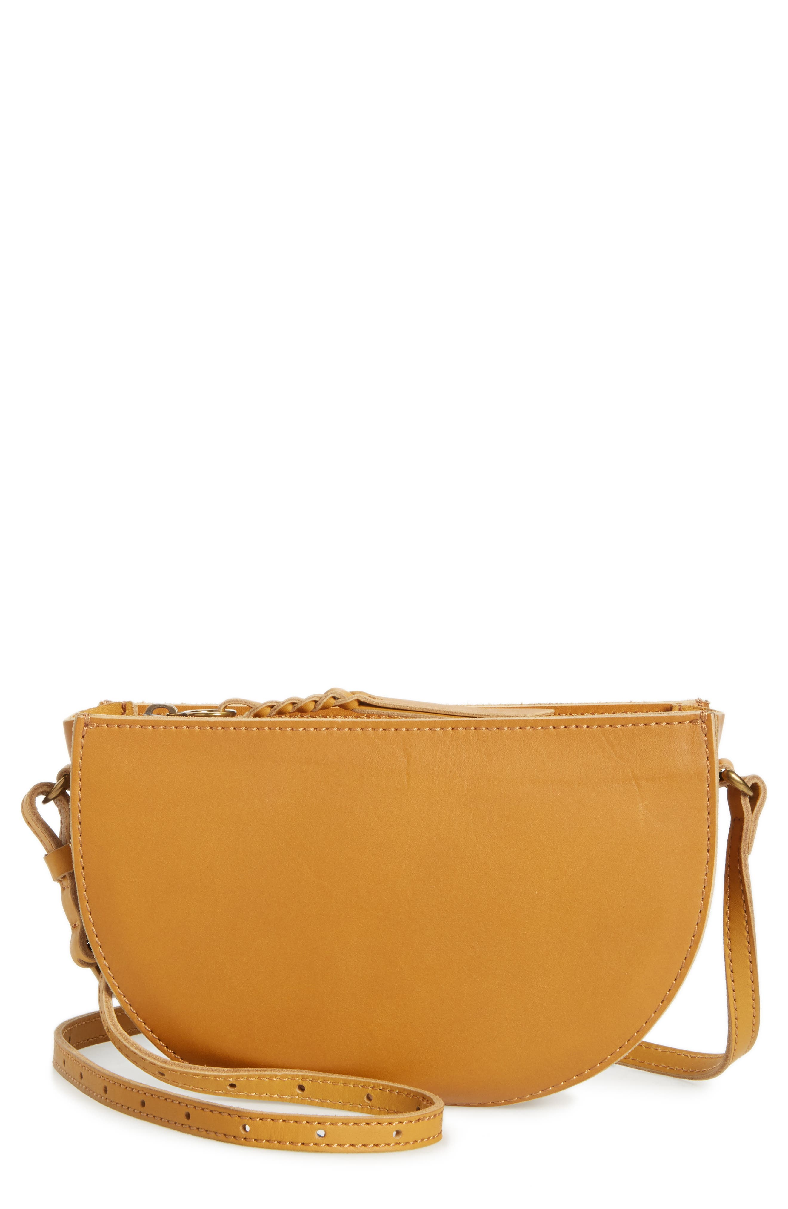 Main Image - Madewell Juniper Vachetta Leather Half Moon Crossbody Bag