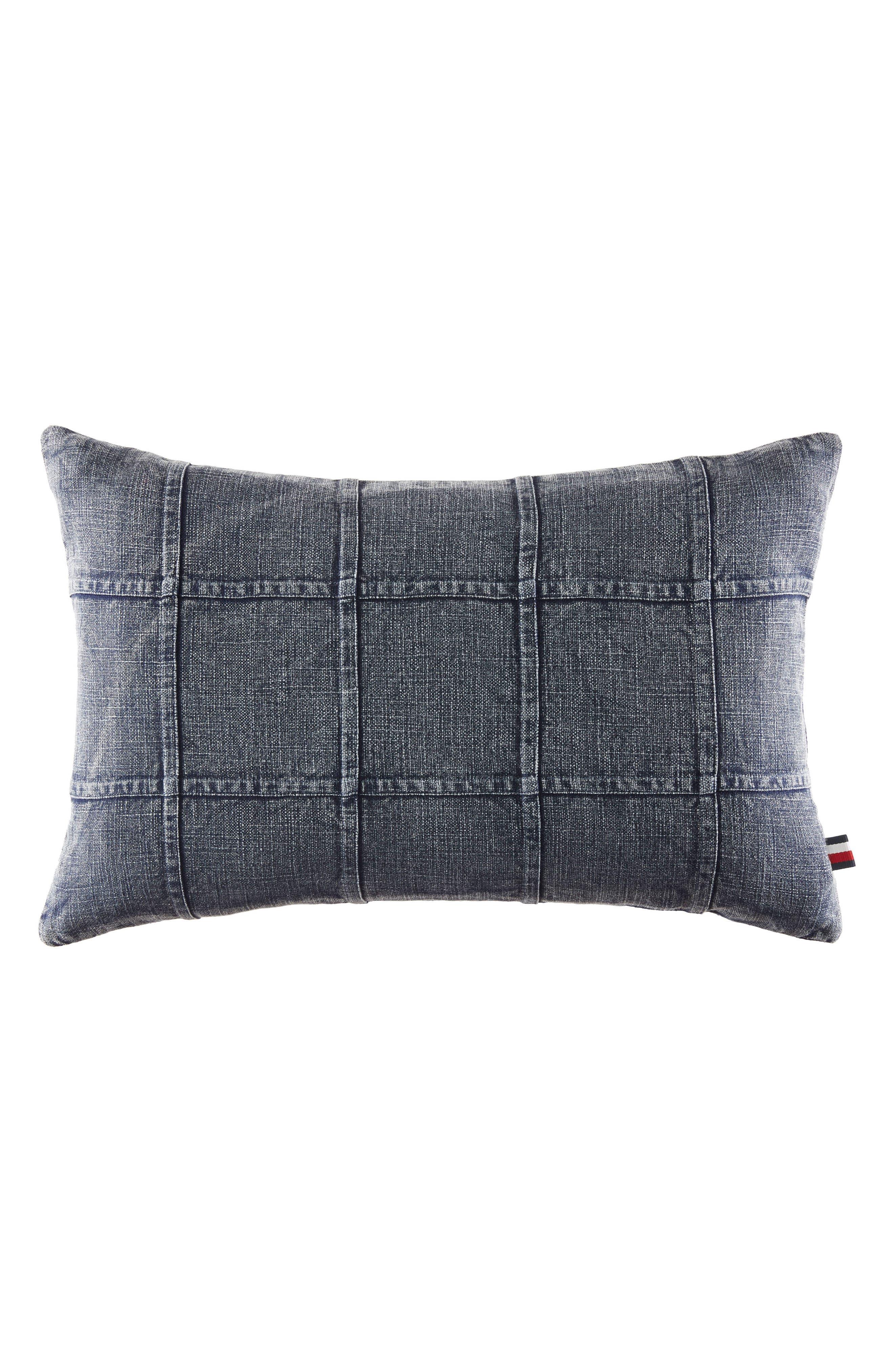 Dusted Indigo Denim Accent Pillow,                             Main thumbnail 1, color,                             Denim Blue