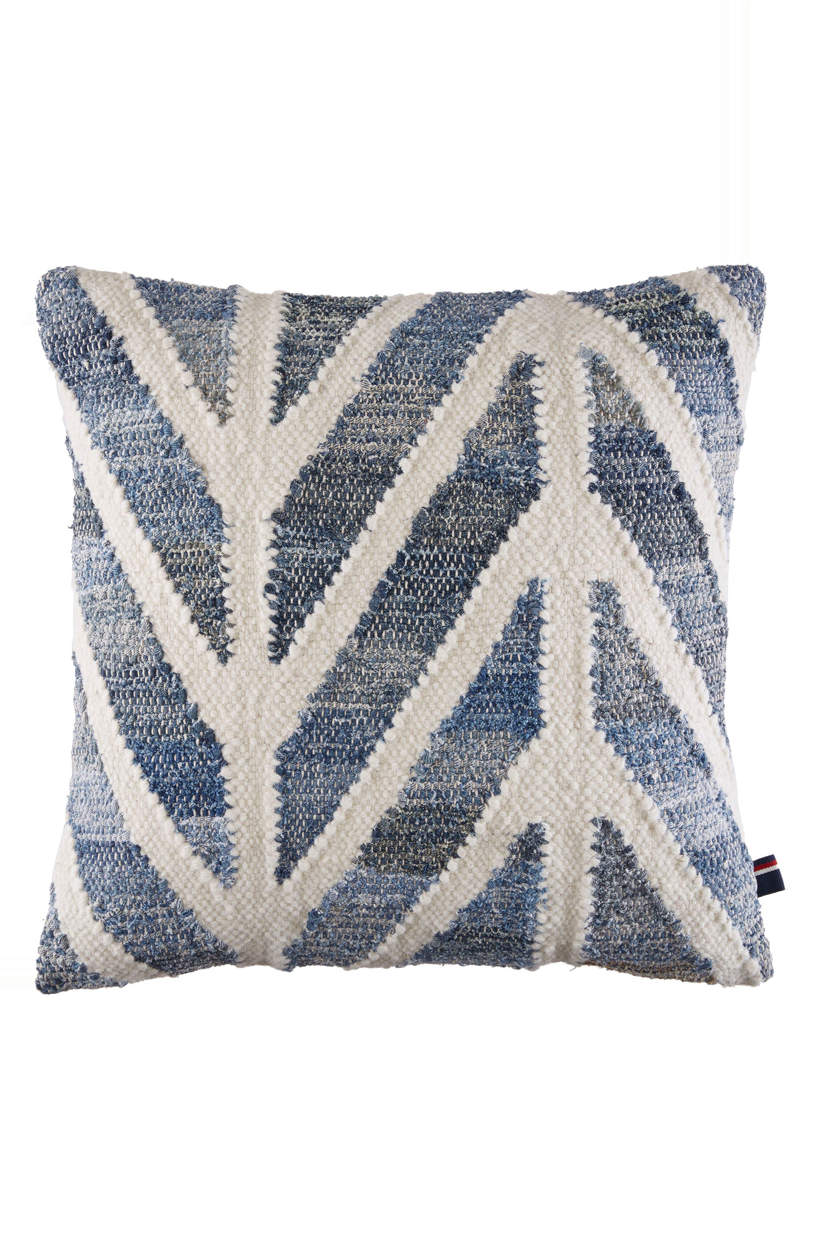 Indigo Chevron Accent Pillow,                             Main thumbnail 1, color,                             Blue/ Cream