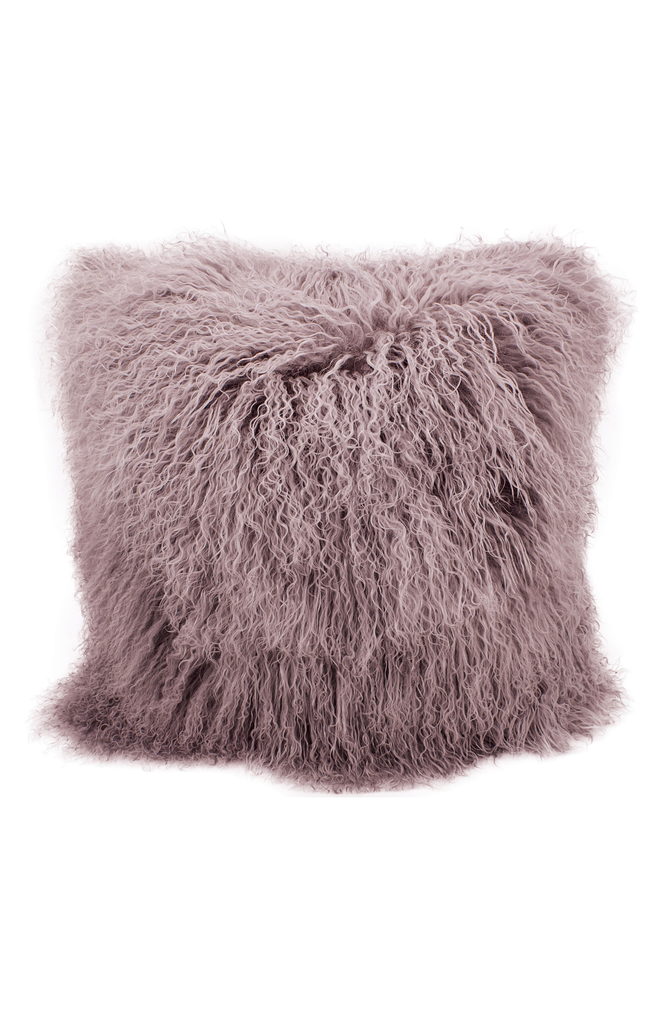 Genuine Shearling Pillow,                             Main thumbnail 1, color,                             Lavender