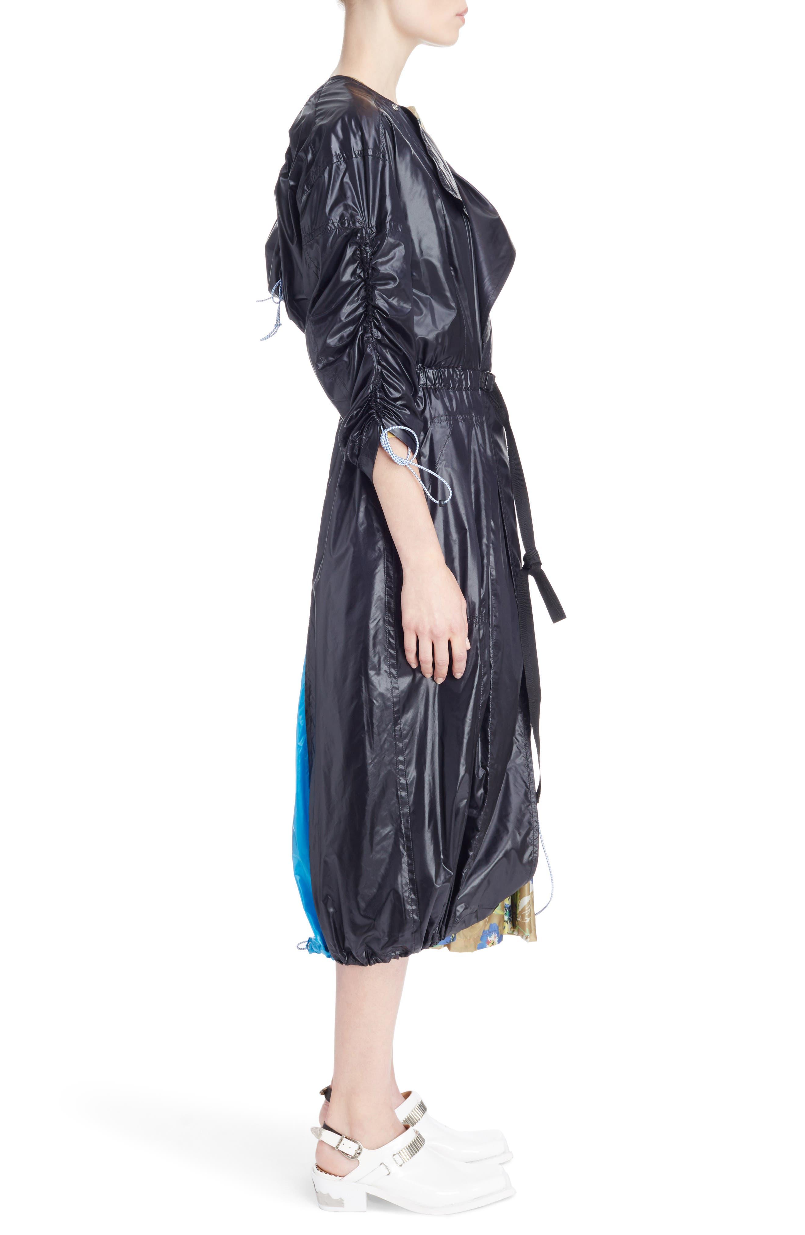 Nylon Trench Coat,                             Alternate thumbnail 3, color,                             Black