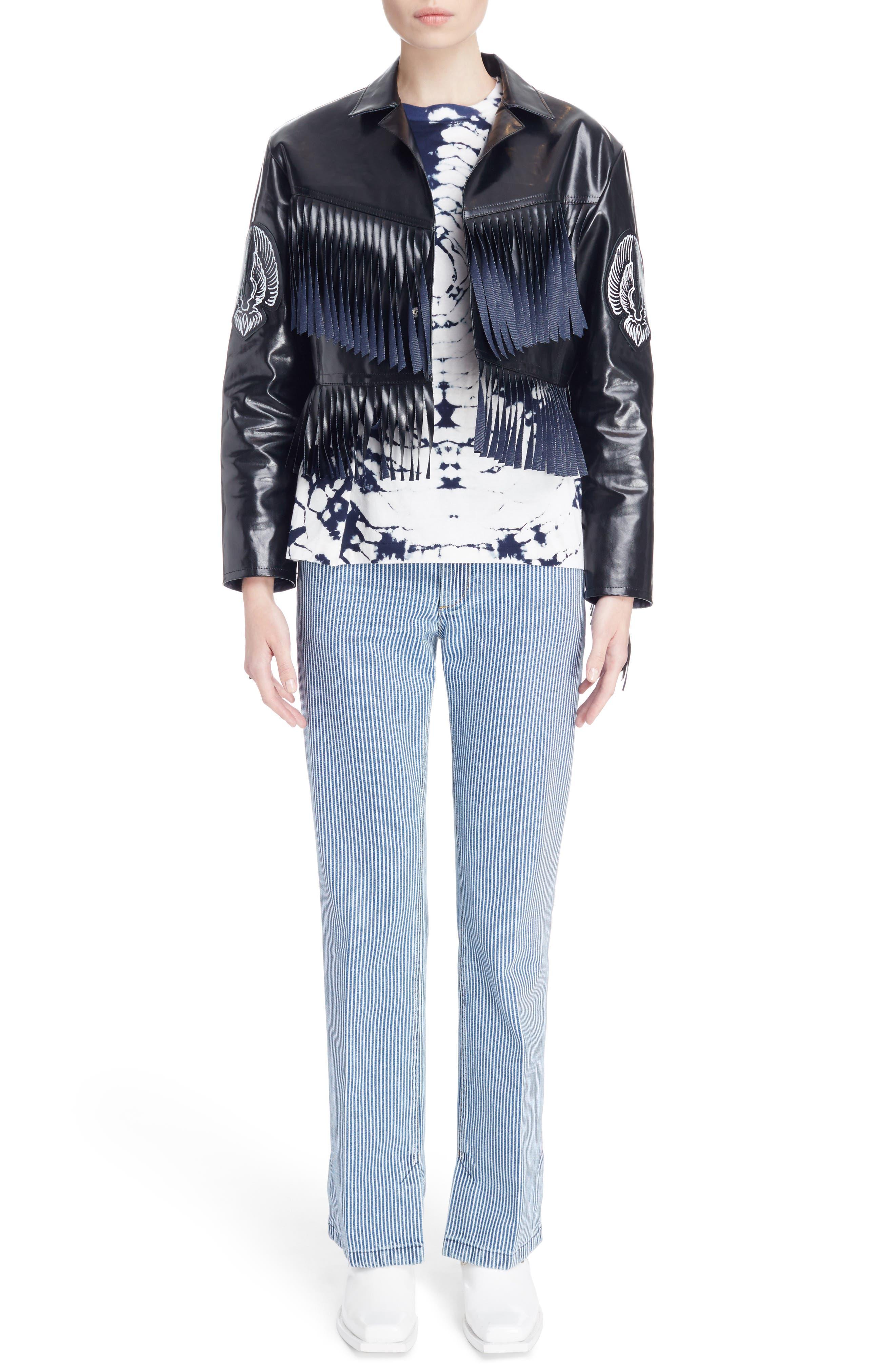 Alternate Image 6  - Toga Fringed Coated Denim Jacket