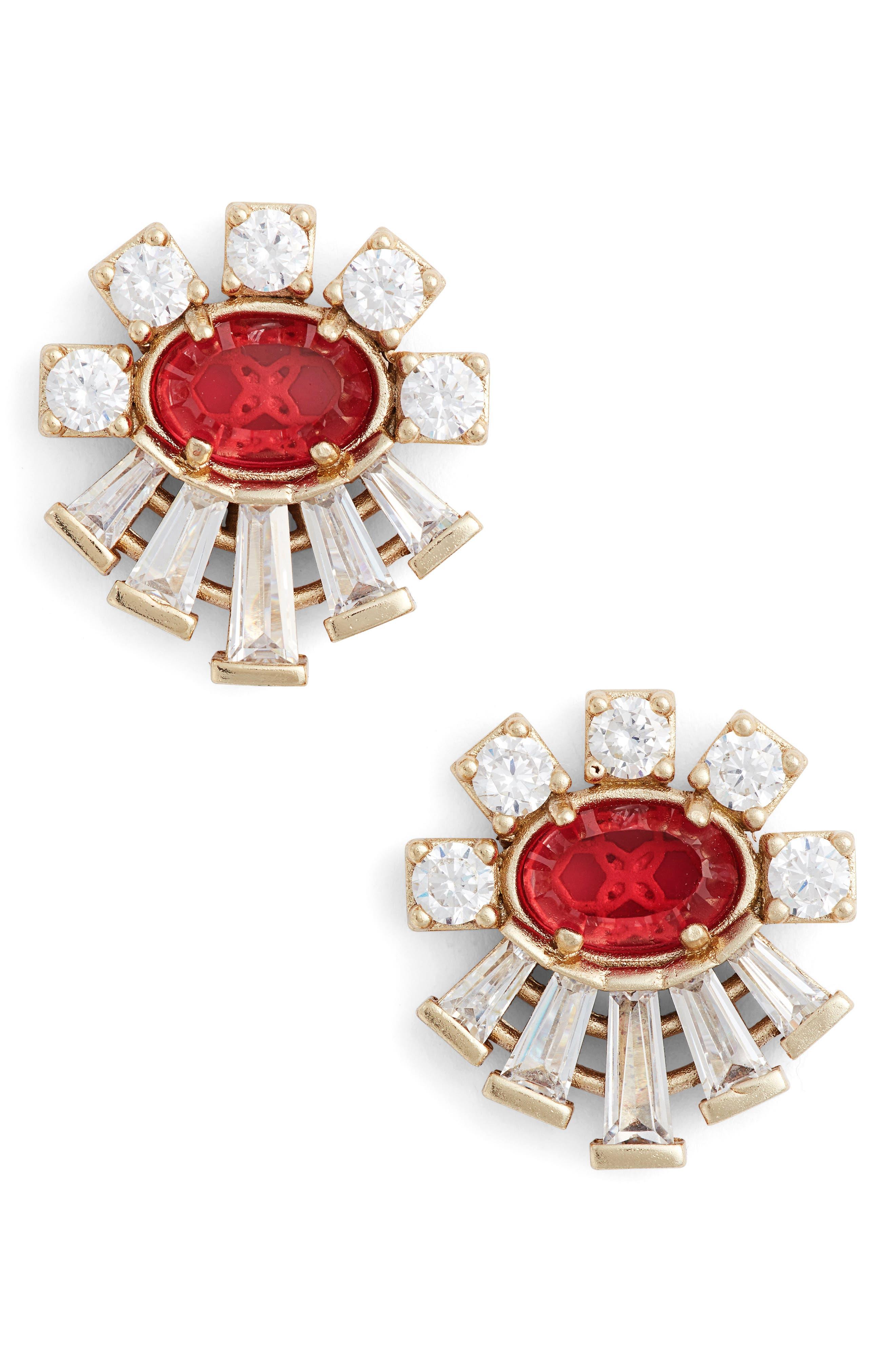 Atticus Jewel Stud Earrings,                         Main,                         color, Berry/ Brass