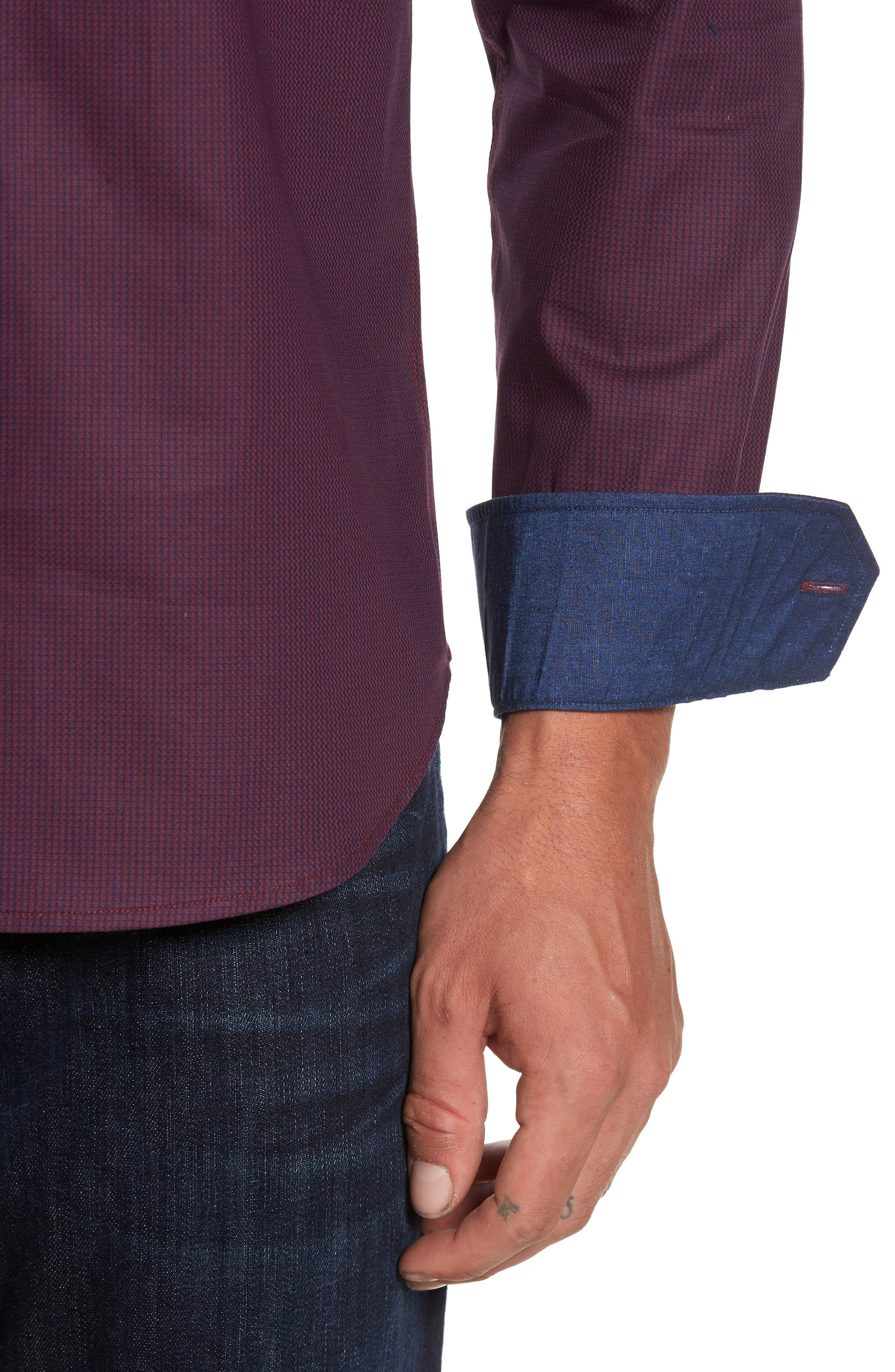 Shaped Fit Sport Shirt,                             Alternate thumbnail 5, color,                             Wine