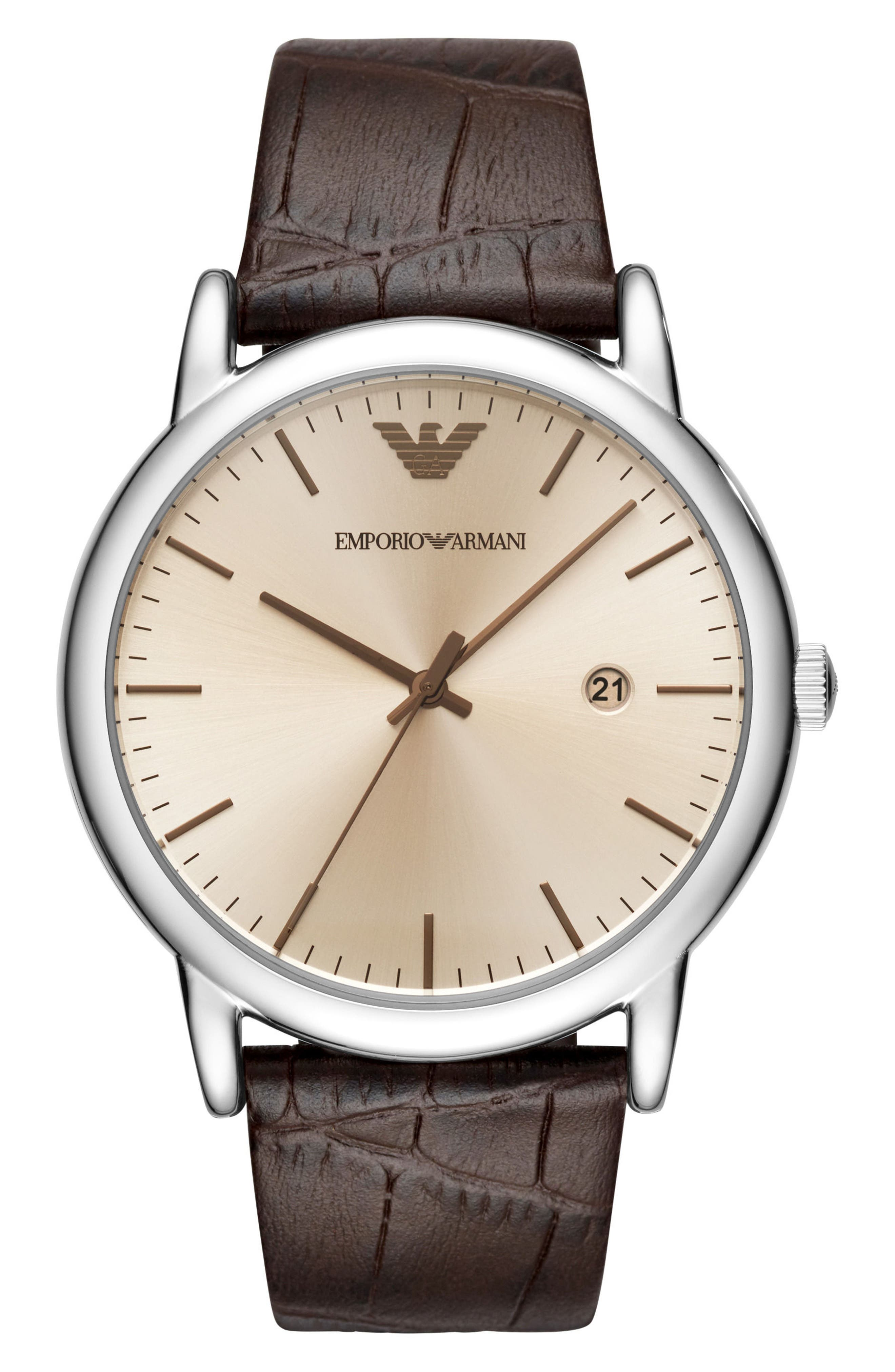 Round Leather Strap Watch, 43mm,                         Main,                         color, Brown