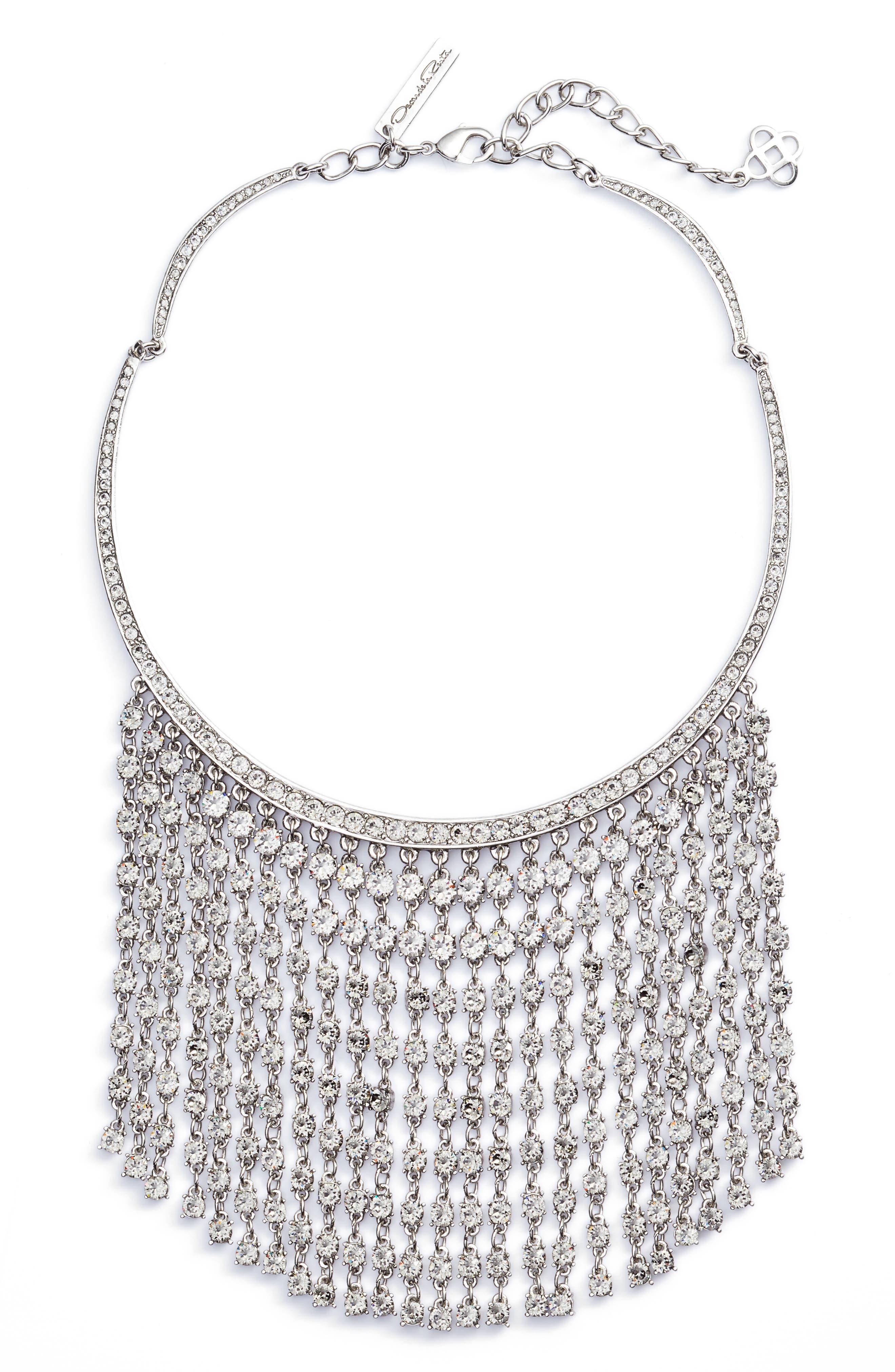 Raindrop Fringe Necklace,                         Main,                         color, Antique Silver