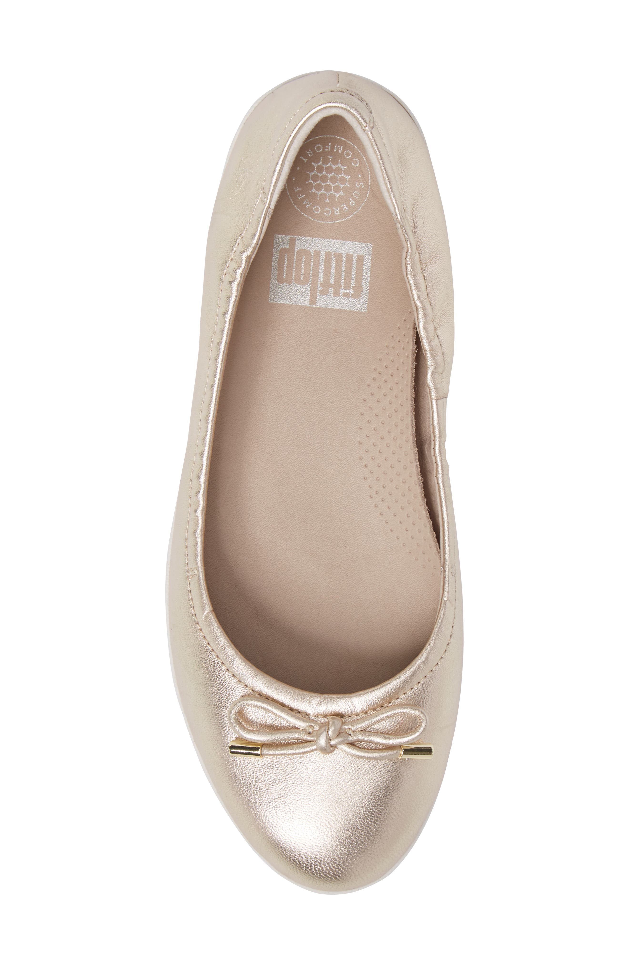 Superbendy Ballerina Flat,                             Alternate thumbnail 5, color,                             Pale Gold Leather