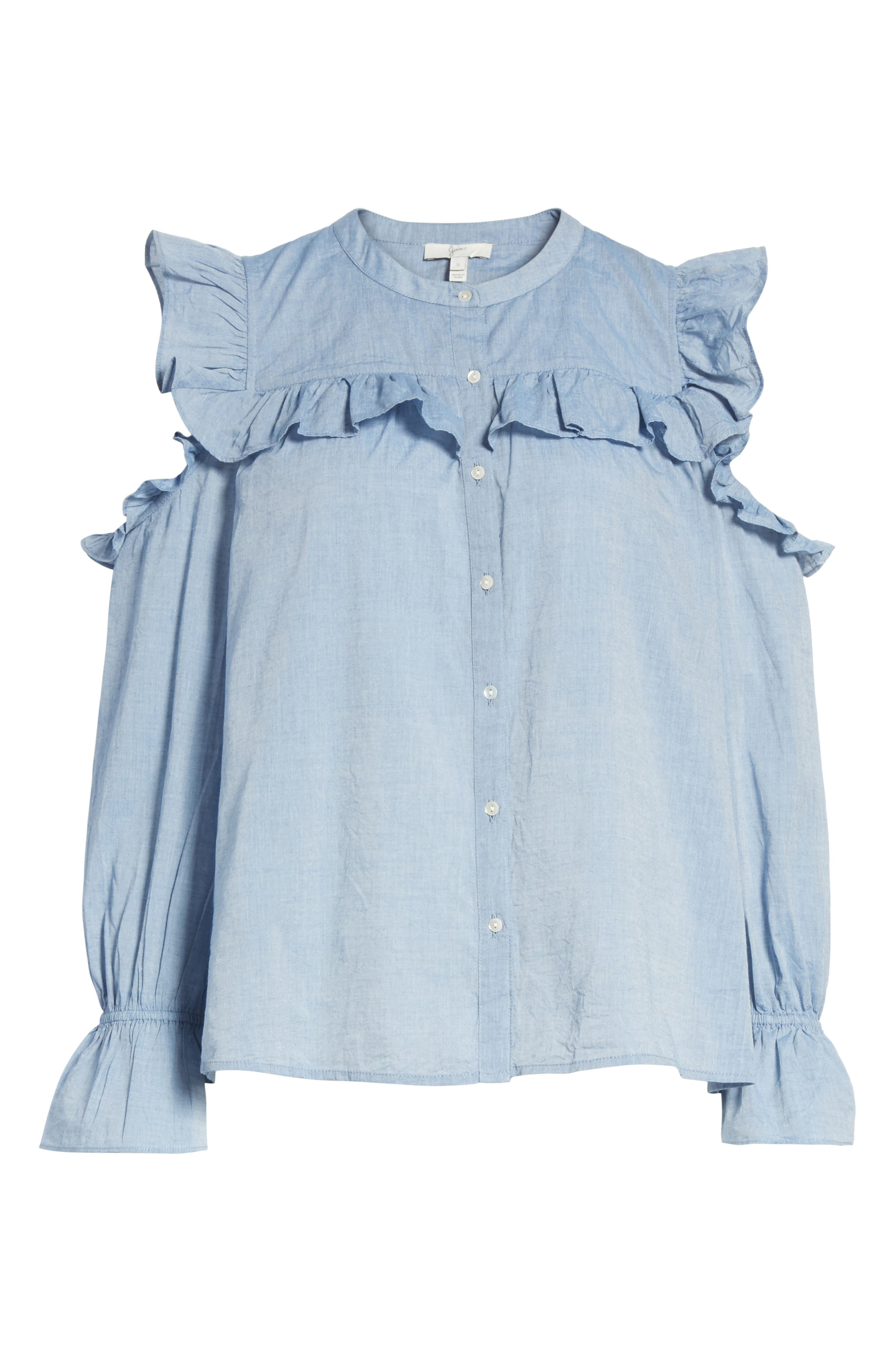 Akari Cold Shoulder Top,                             Alternate thumbnail 4, color,                             Chambray