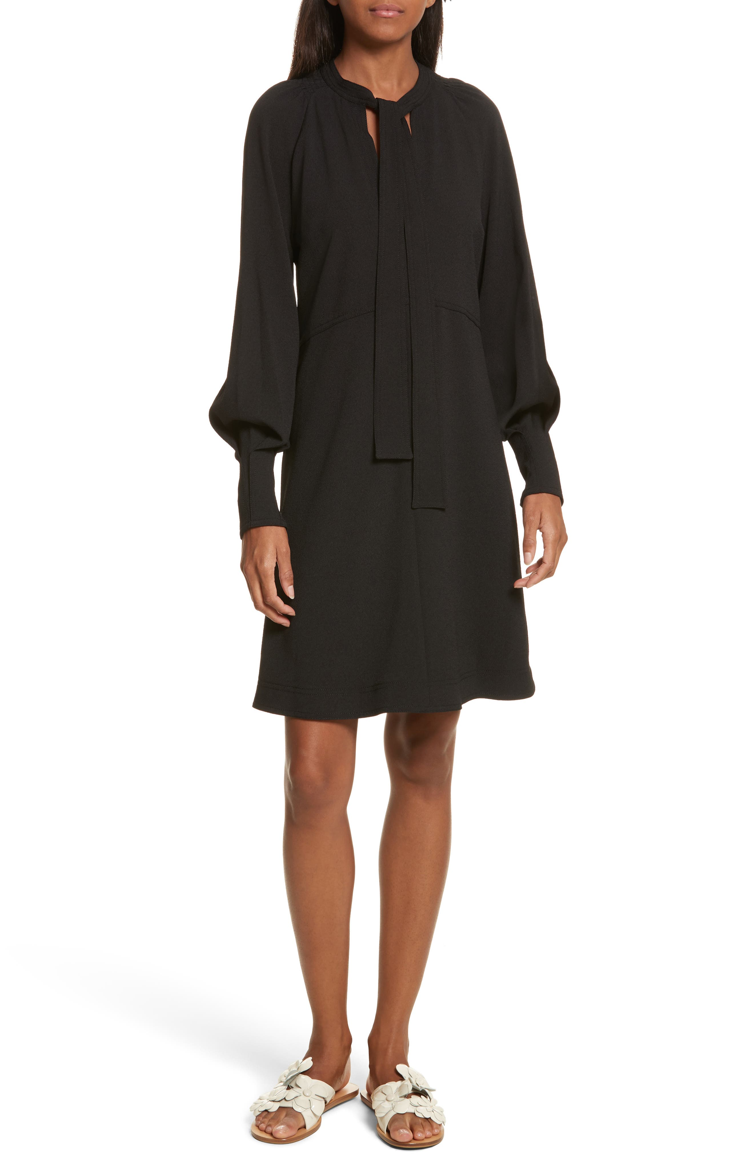 Main Image - See by Chloé Crepe Tie Neck Dress