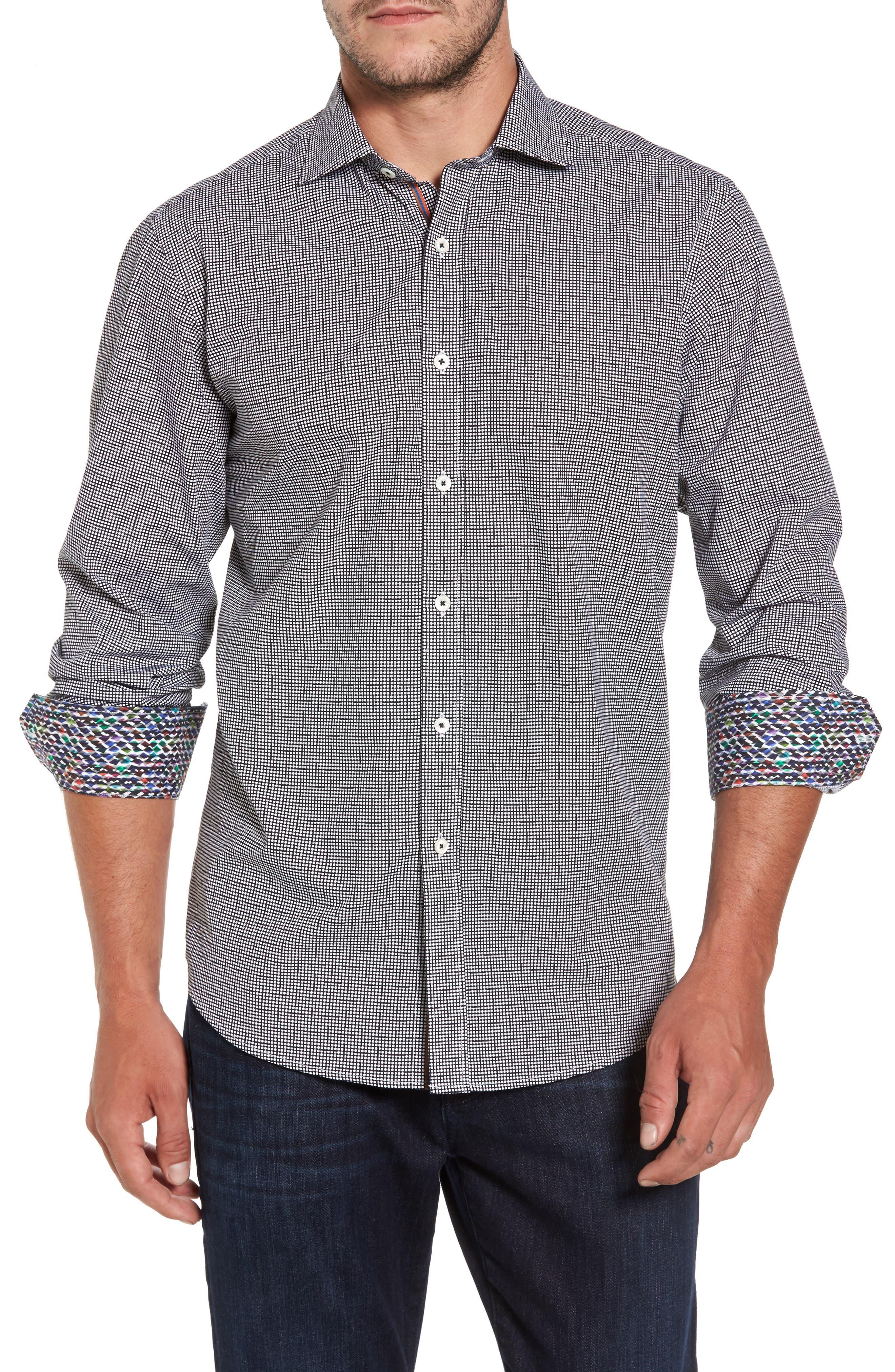 Classic Fit Dot Print Sport Shirt,                         Main,                         color, Black