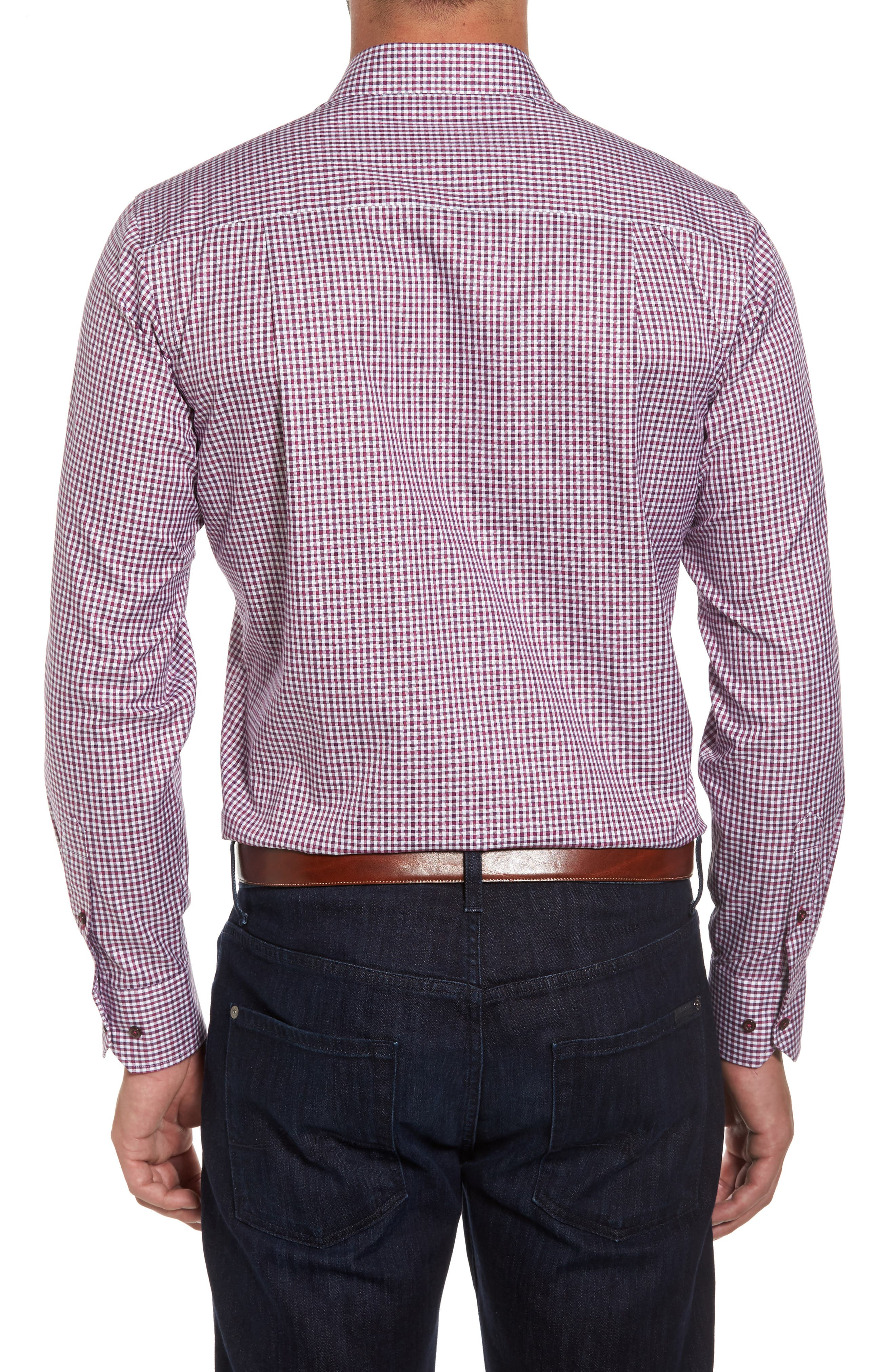 Plaid Regular Fit Sport Shirt,                             Alternate thumbnail 2, color,                             Berry
