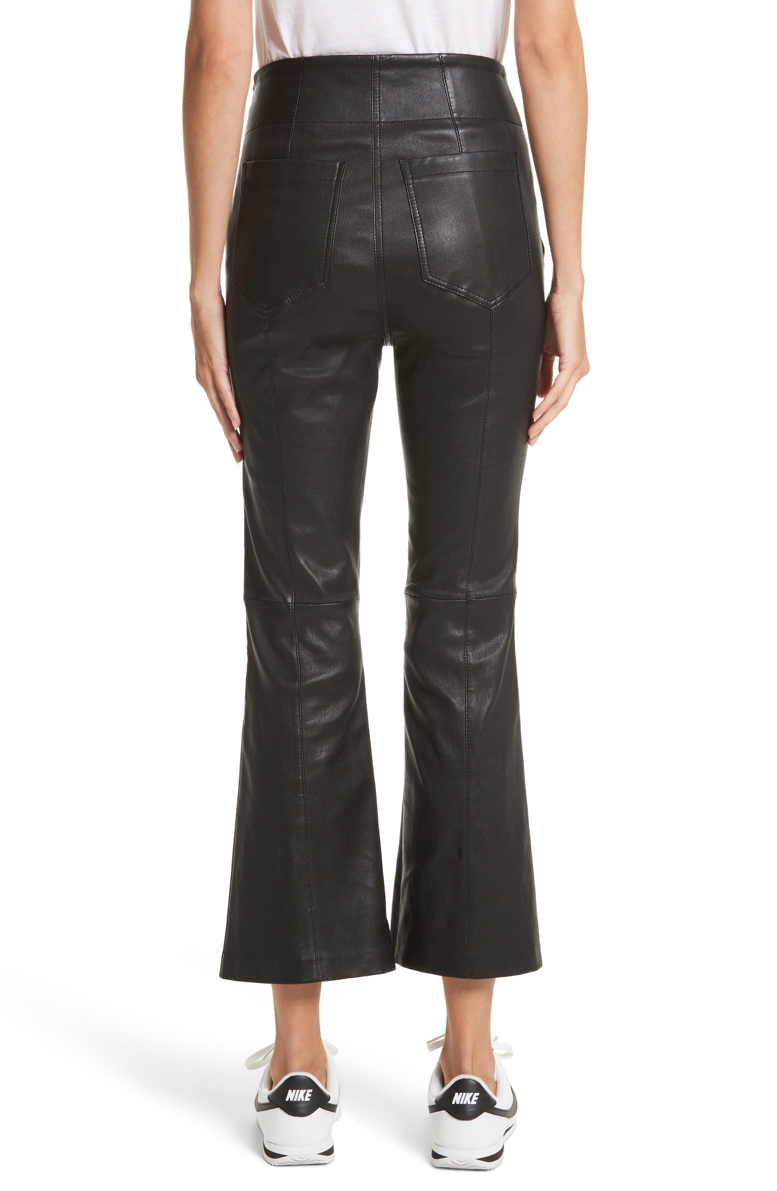 Delia Lace Up Leather Pants,                             Alternate thumbnail 2, color,                             Black