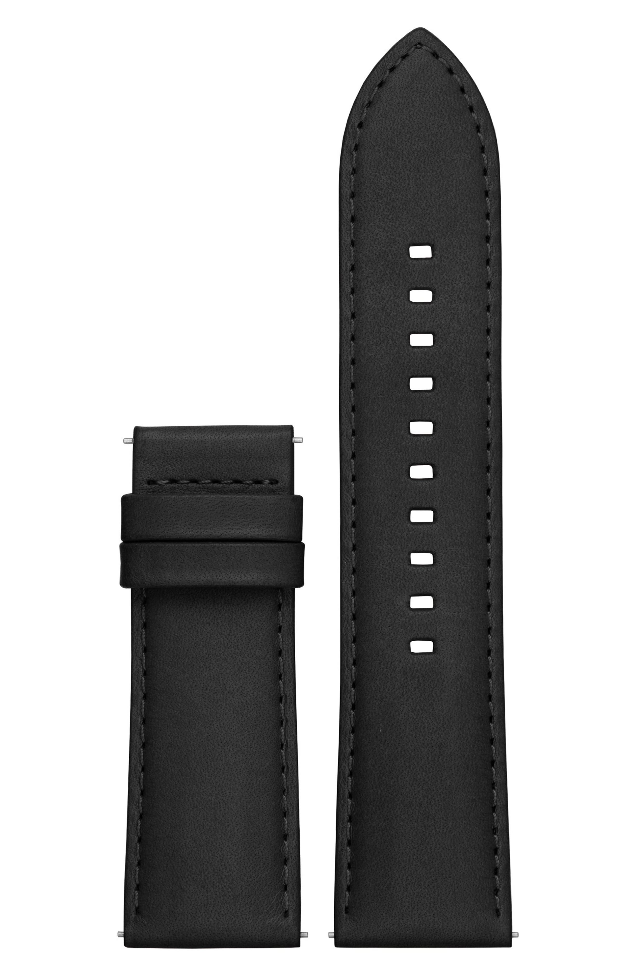 Grayson 24mm Leather Watch Strap,                             Main thumbnail 1, color,                             Black