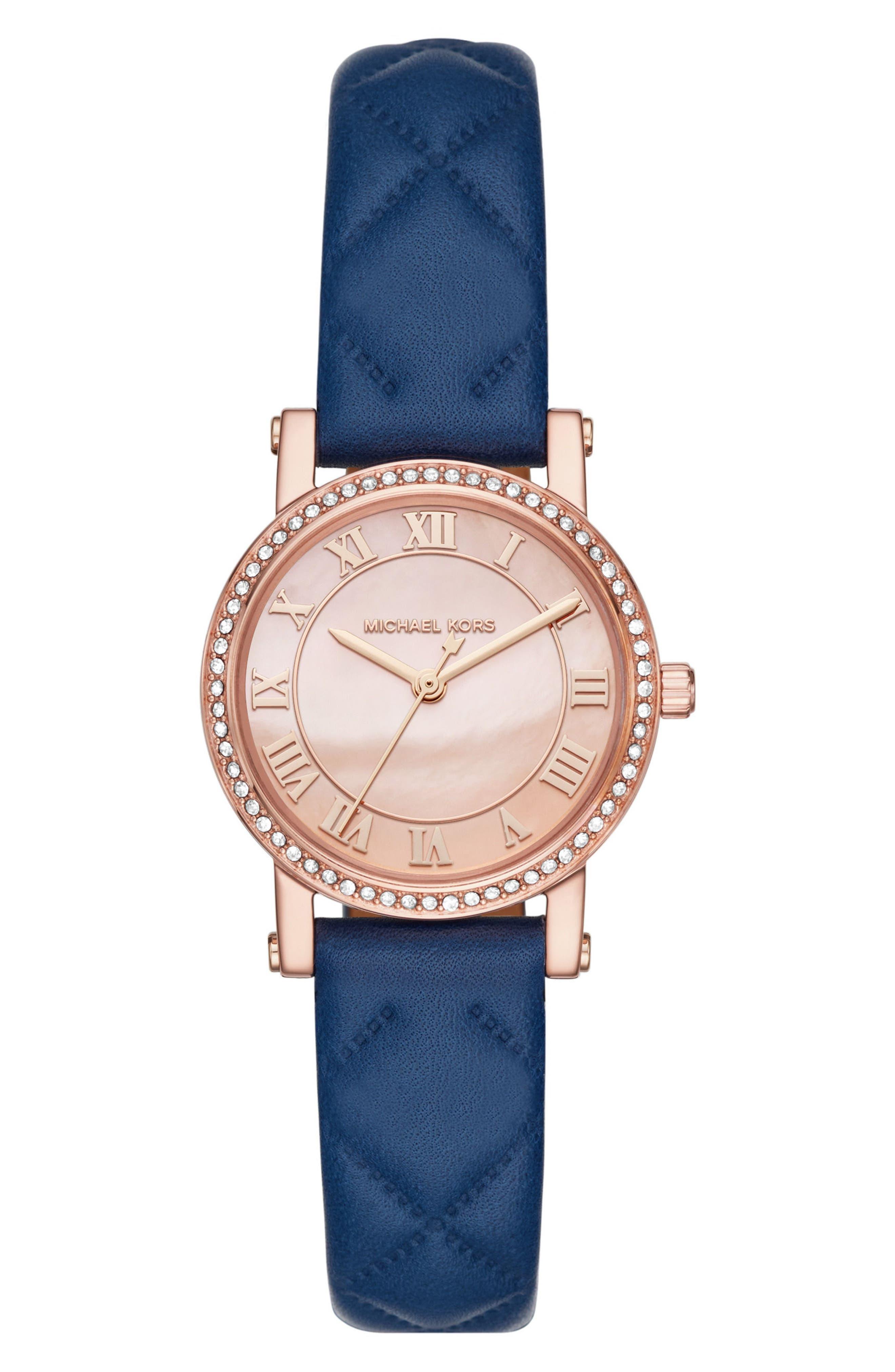 Petite Norie Pavé Leather Strap Watch, 28mm,                         Main,                         color, Blue/ Rose Gold