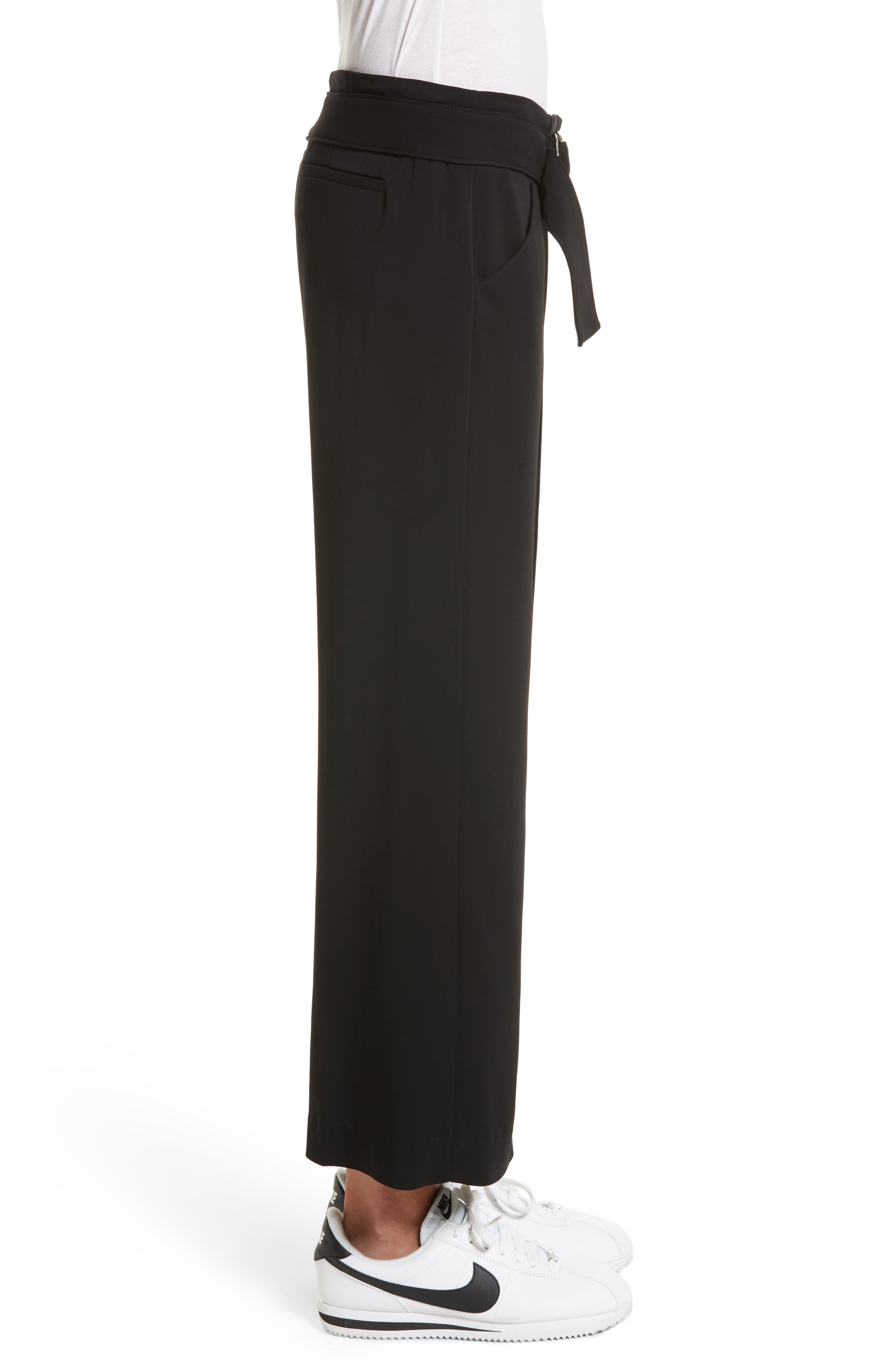 Heri Wide Leg Crepe Pants,                             Alternate thumbnail 3, color,                             Black