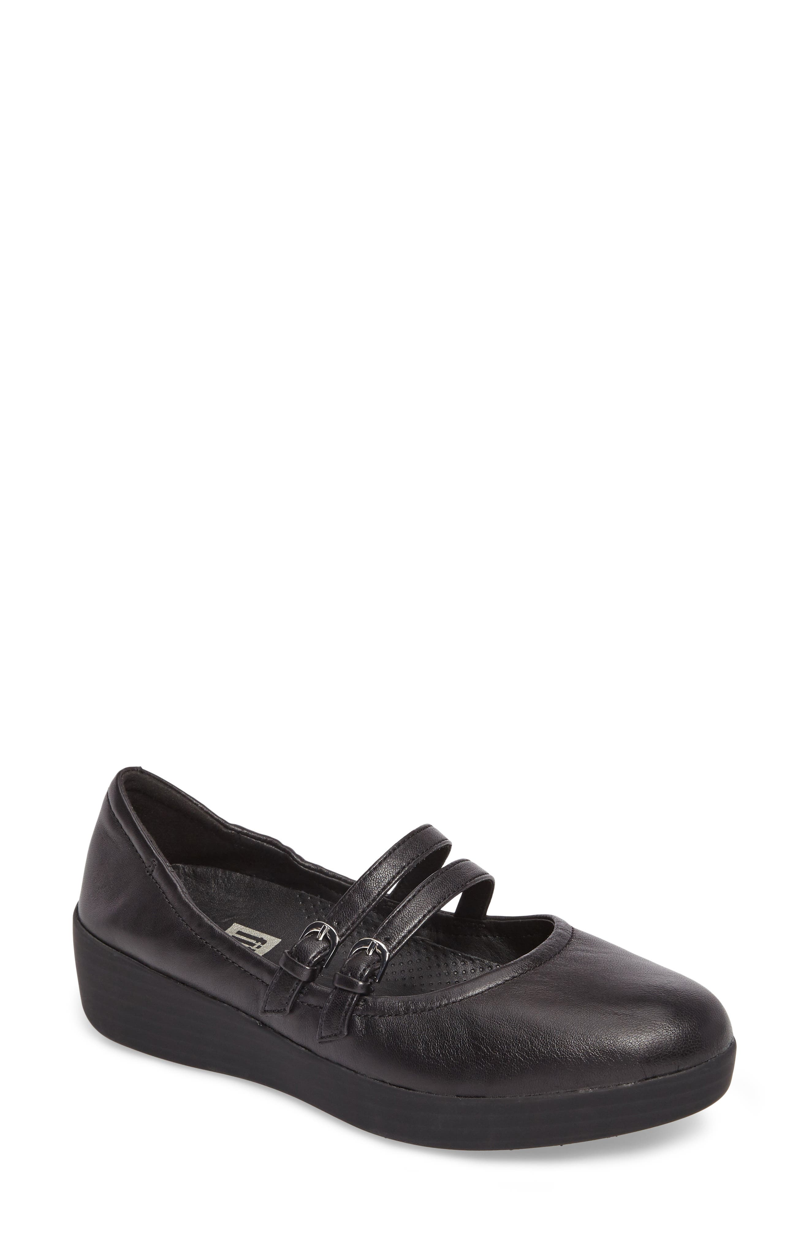 SuperBendy<sup>™</sup> Mary Jane Flat,                         Main,                         color, Black Leather
