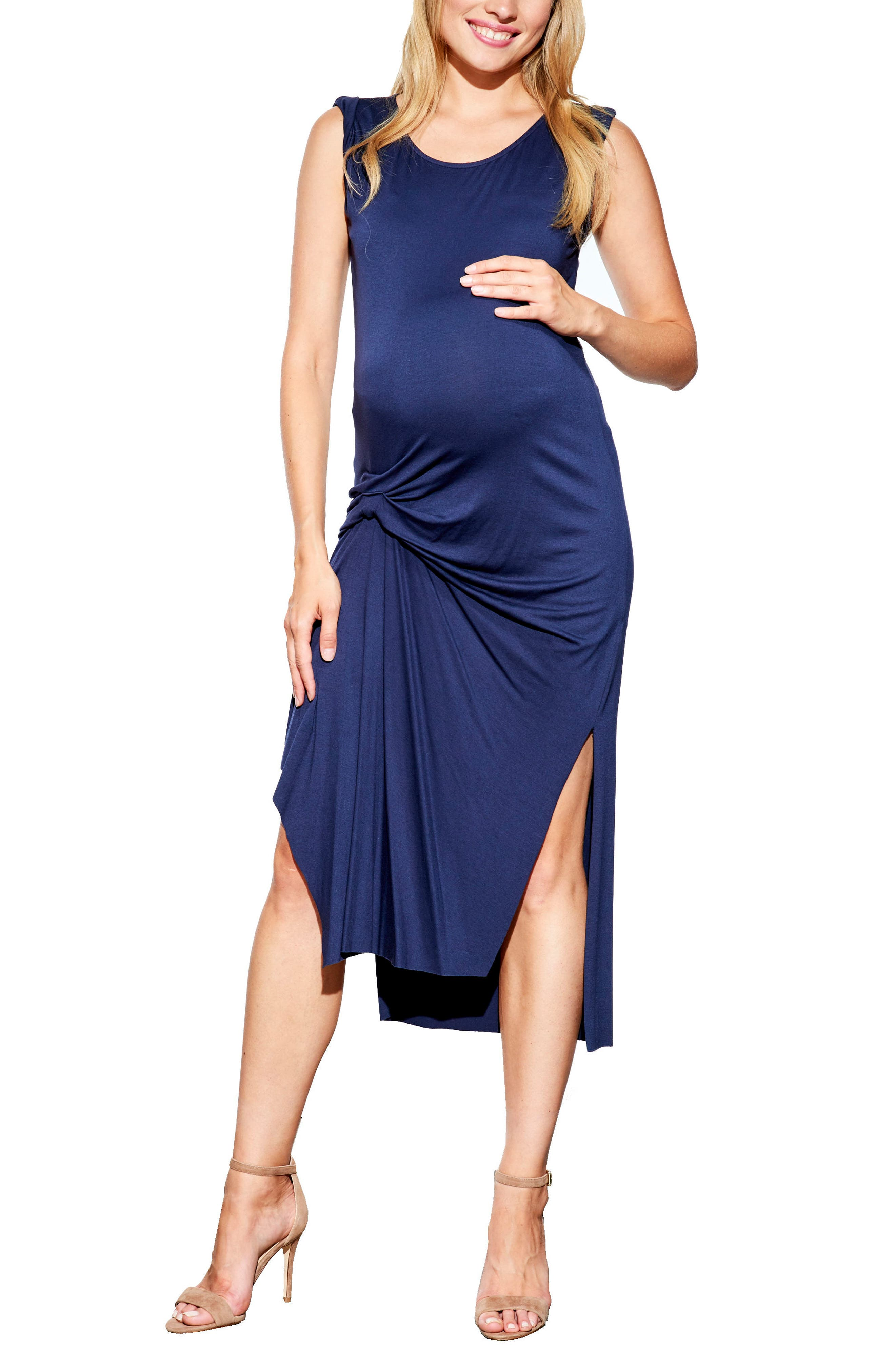 Pleated Maternity Dress,                         Main,                         color, Navy